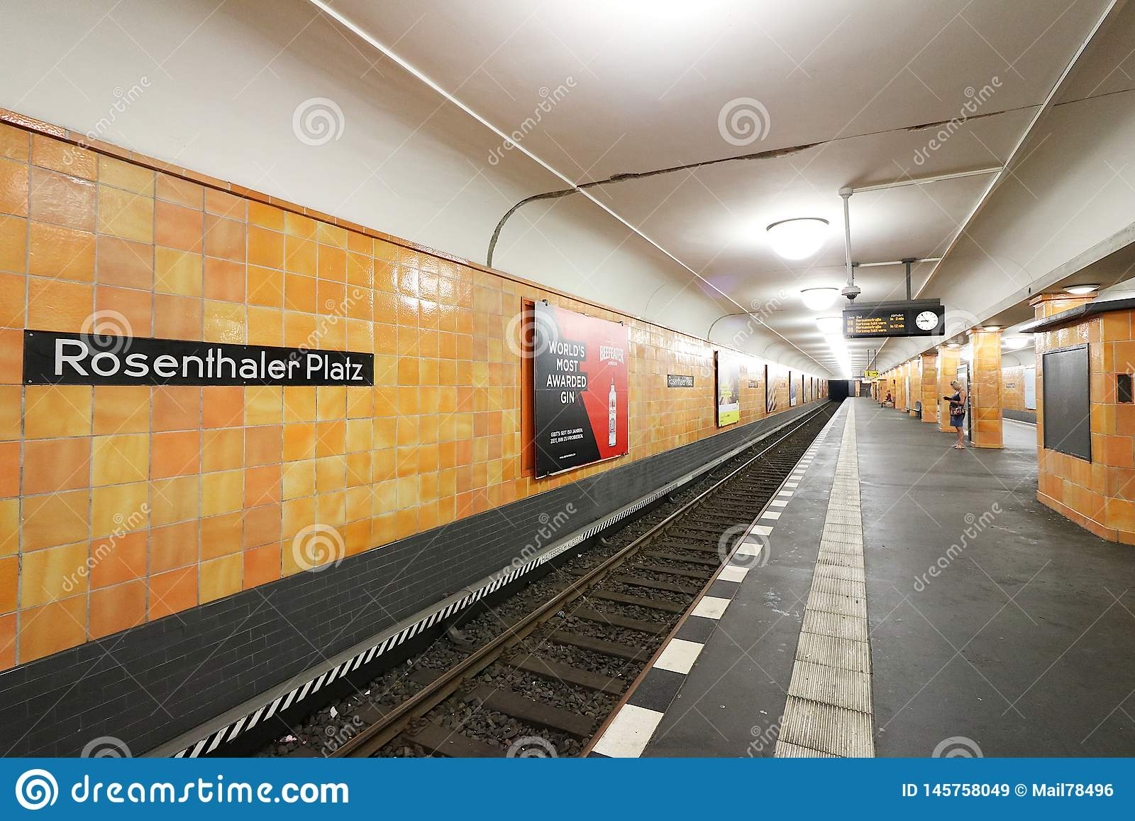 Berlin, Germany, 13 June 2018. Rosenthaler Platz underground station. Walls covered in orange ceramic