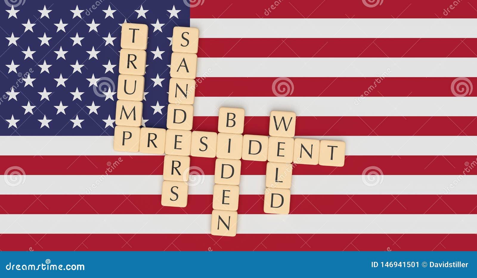 Letter Tiles Major Candidates Running For President In 2020 With US Flag, 3d illustration