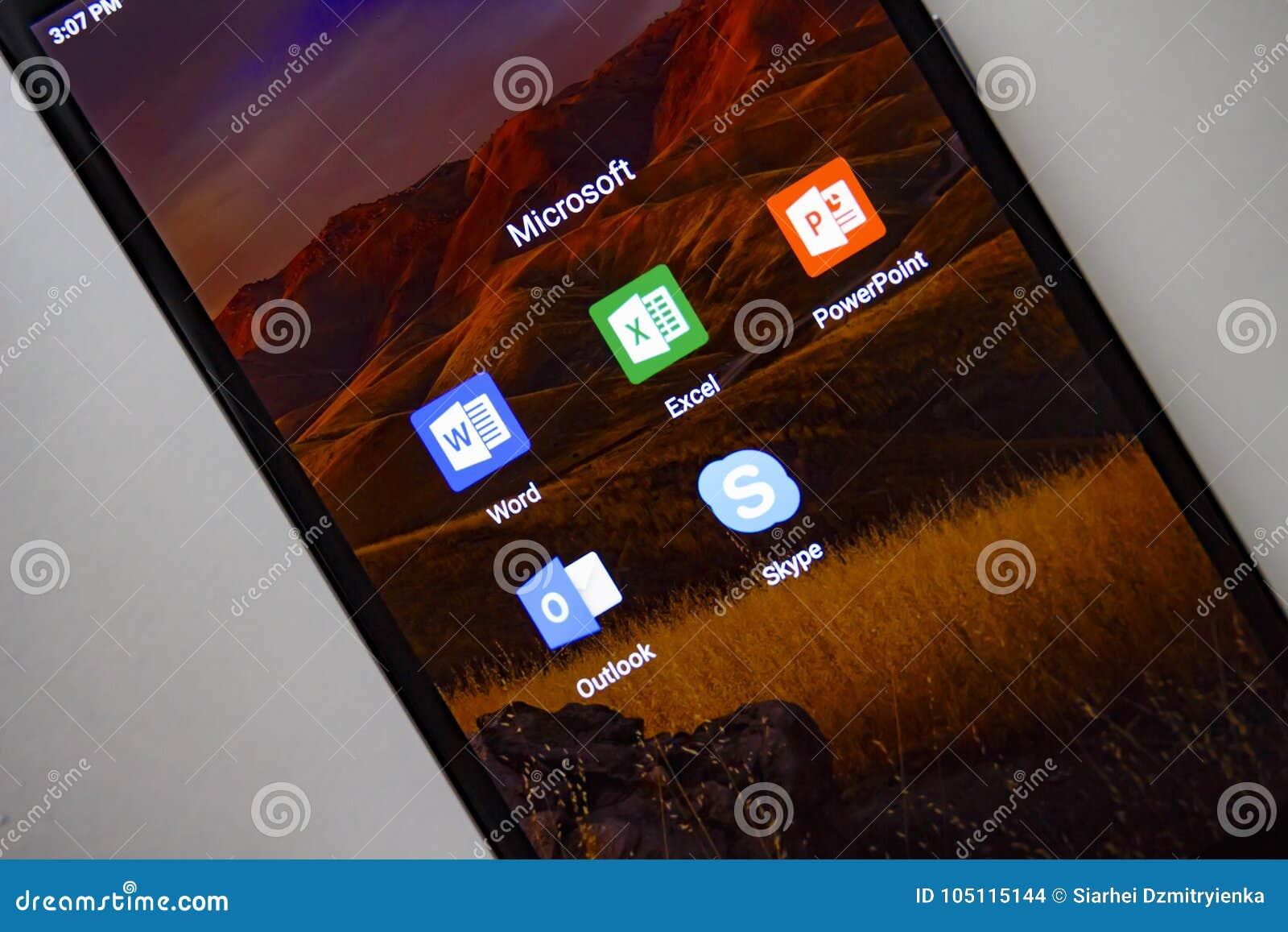 Berlin, Germany - November 19, 2017: Microsoft apps on screen modern smartphone. Word, Exel, PowerPoint, Outlook