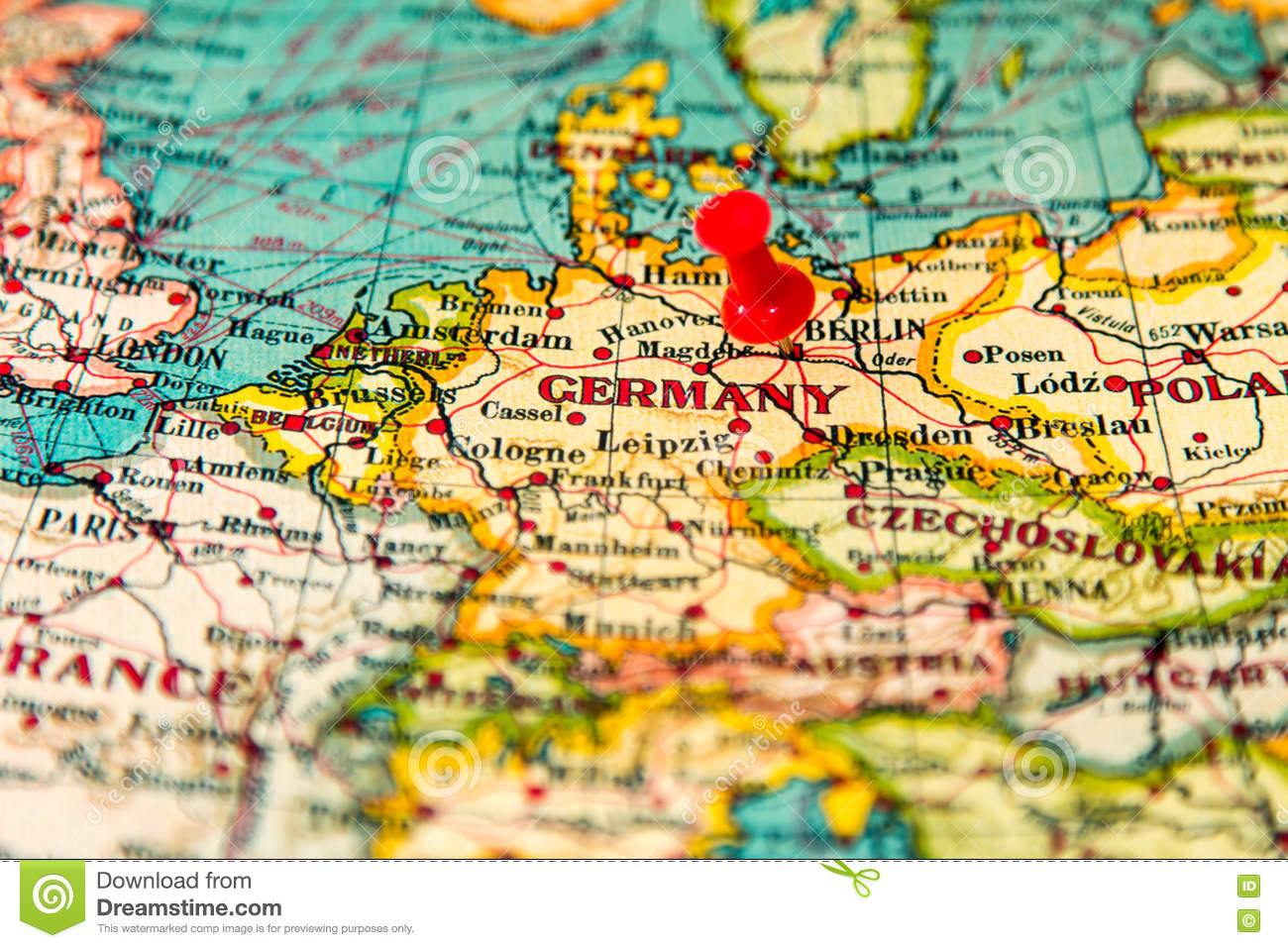 Berlin Germany Pinned On Vintage Map Of Europe Stock Image Image