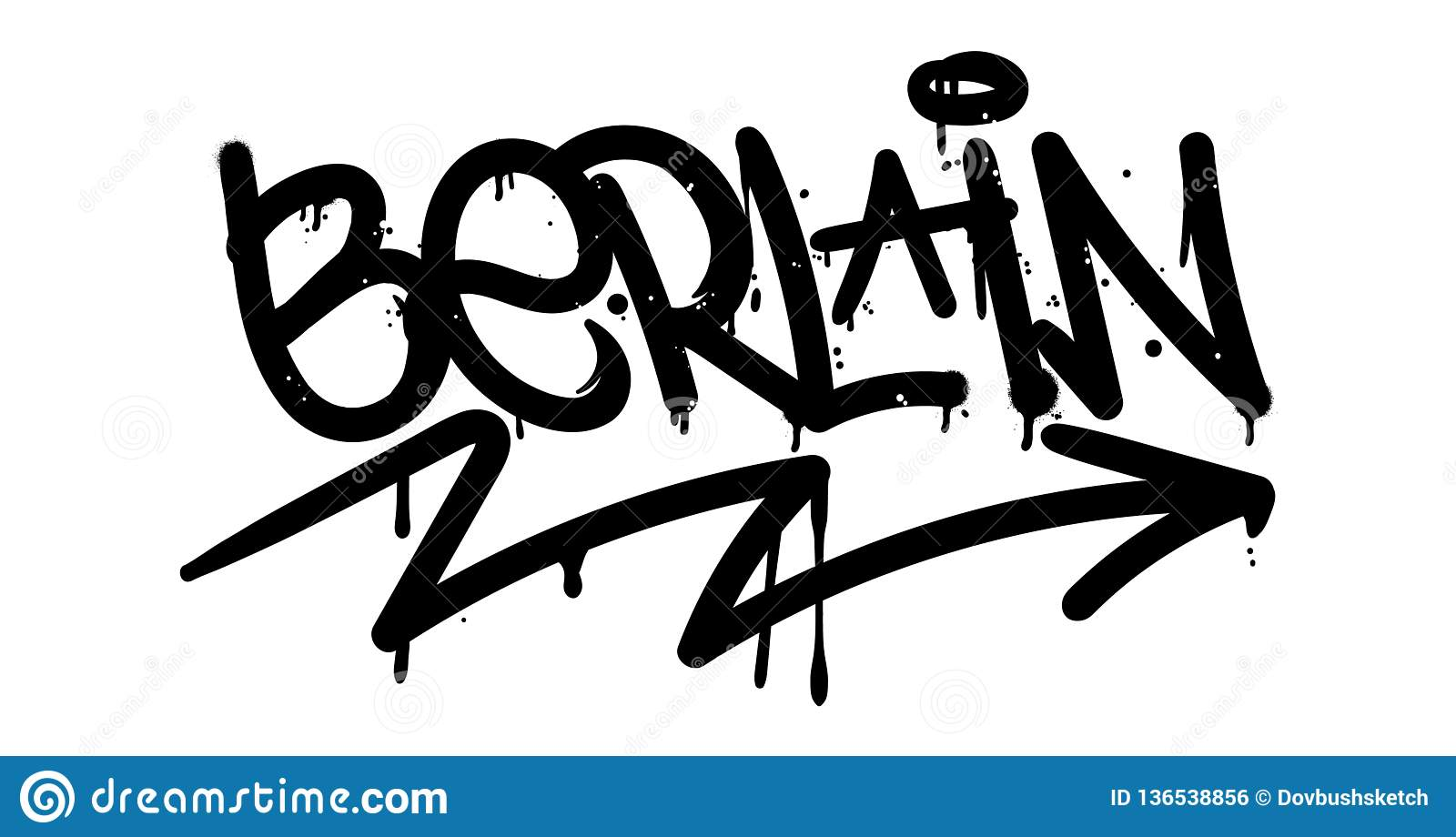 City berlin in graffiti tag style on wall by using aerosol spray paint or marker street type lettering for poster cover print clothes pin patch sticker