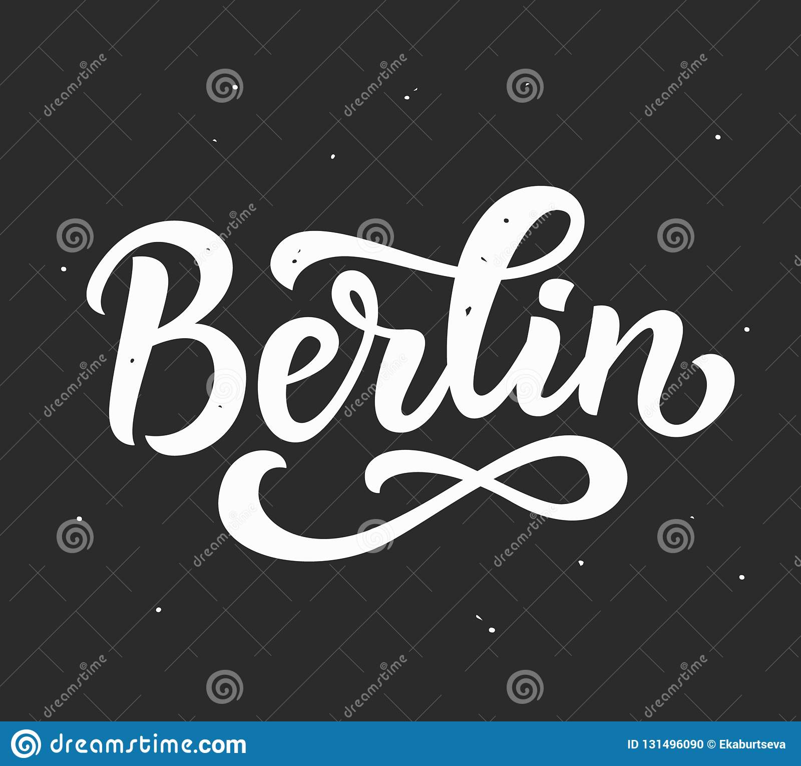Berlin hand written lettering ink modern calligraphy modern grunge sticker trendy print typography card poster design vector illustration