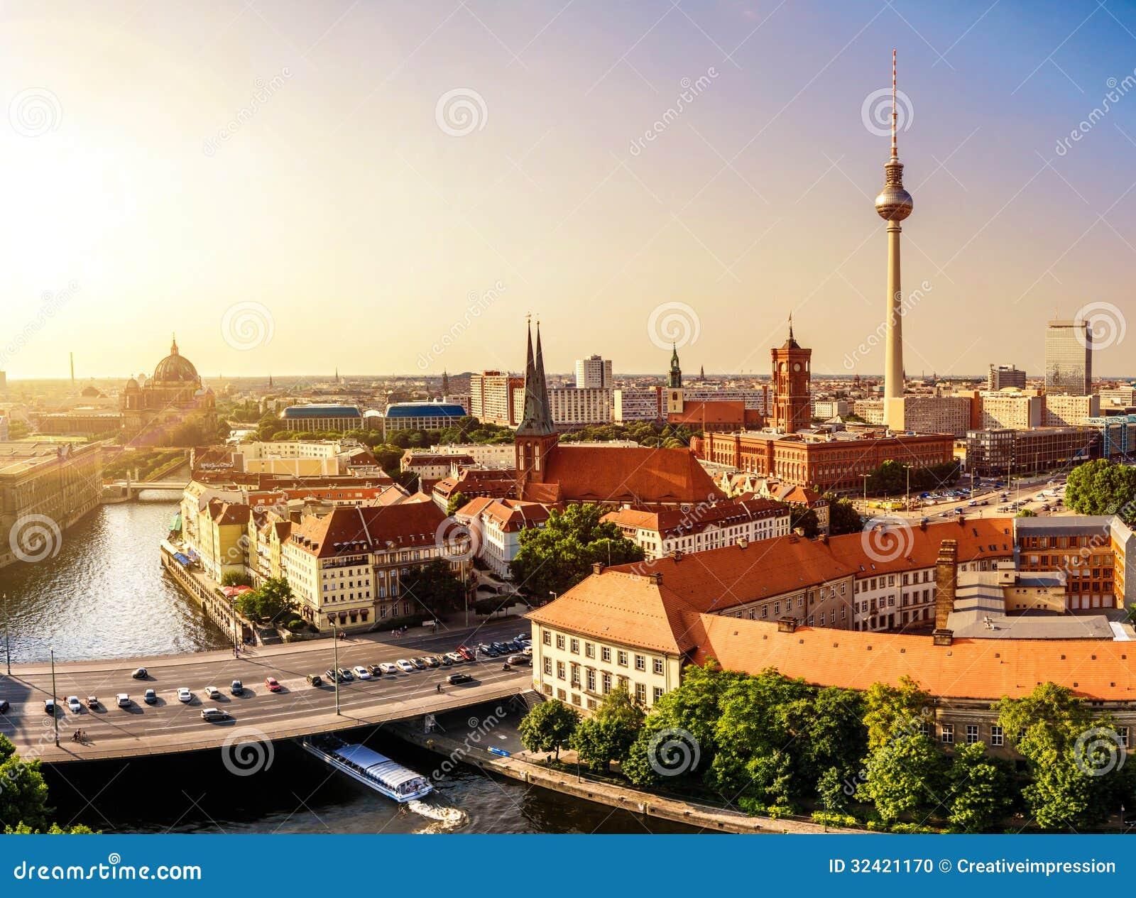Berlin horisontsolnedgång