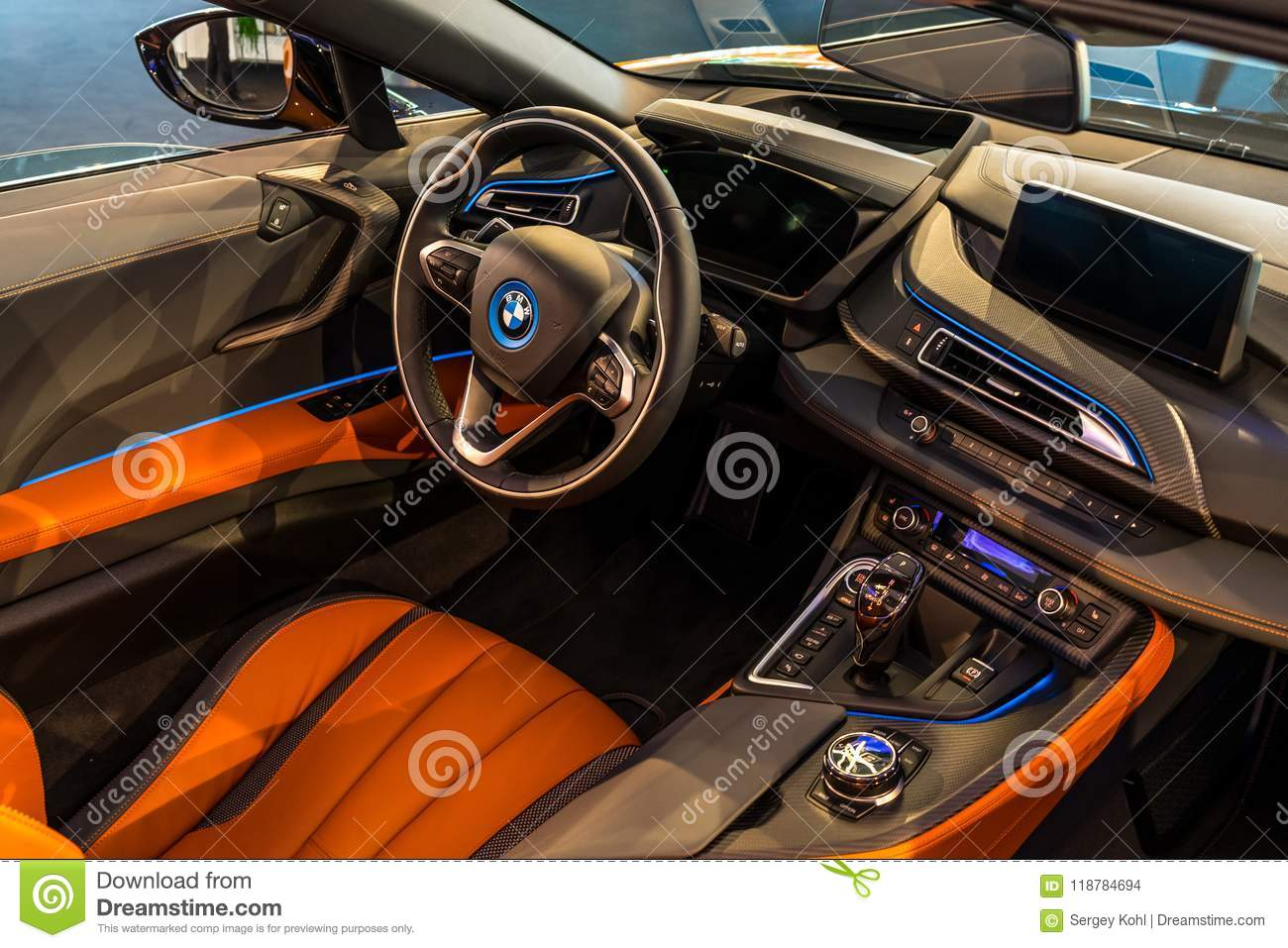 Interior Of A Plug In Hybrid Sports Car Bmw I8 Roadster Editorial