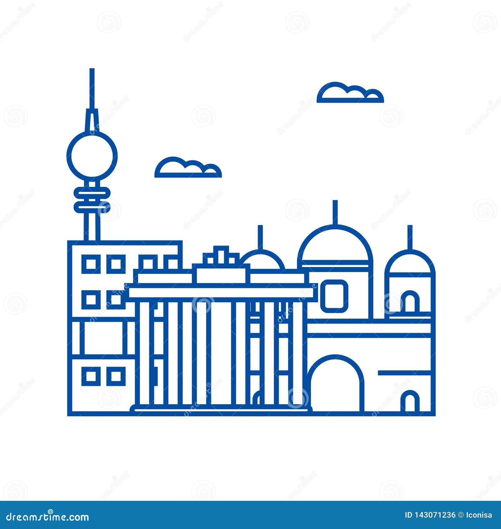 Berlin linii ikony pojęcie Berliński płaski wektorowy symbol, znak, kontur ilustracja