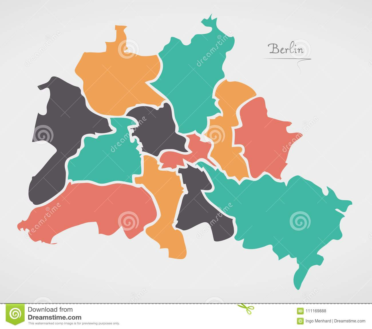 Berlin Map With Boroughs And Modern Round Shapes Stock ...