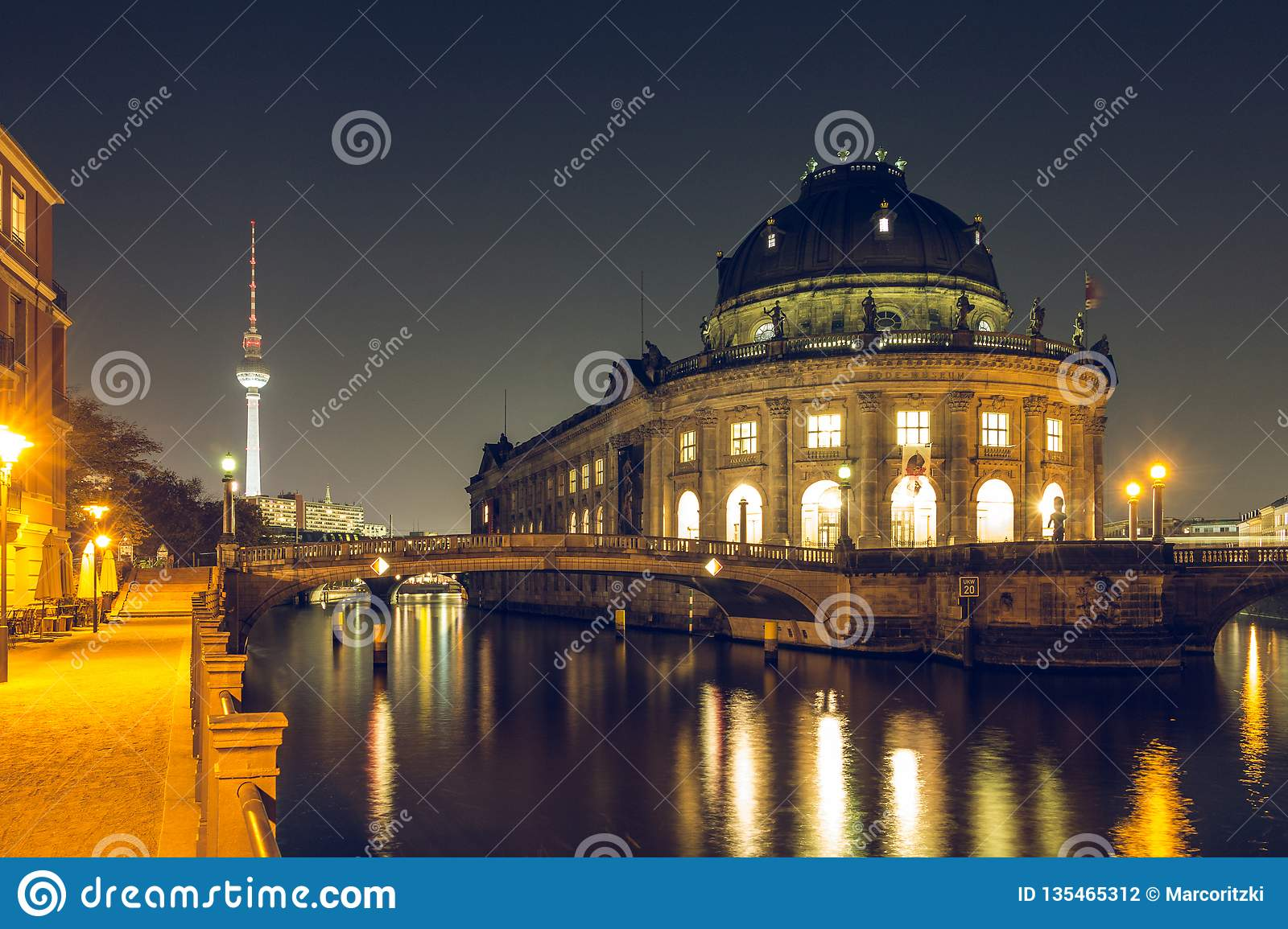 Berlin museums island by night and river Spree with TV Tower