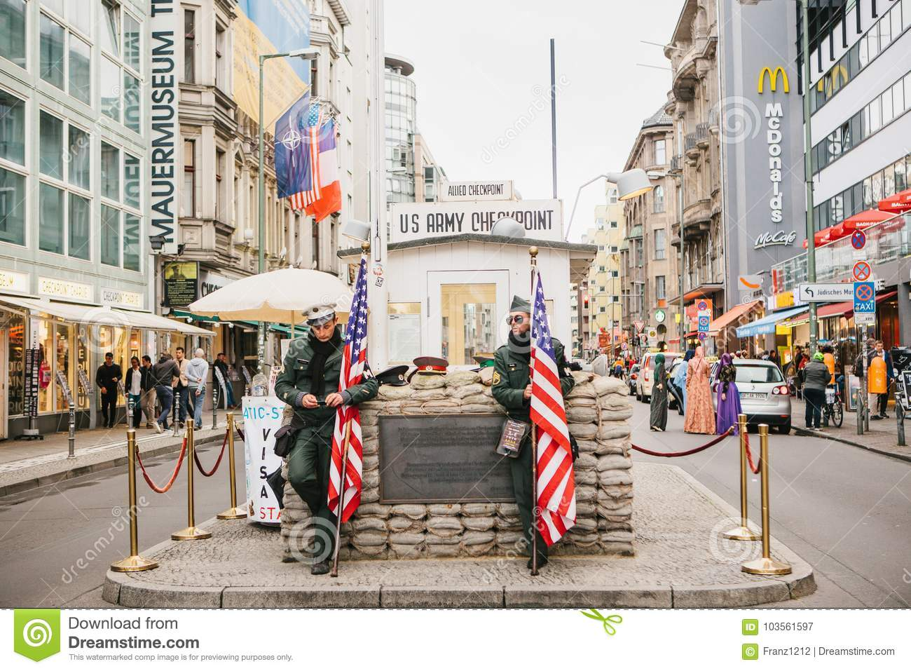 berlin october 1 2017 checkpoint charlie frontier checkpoint on friedrichstrasse in berlin. Black Bedroom Furniture Sets. Home Design Ideas