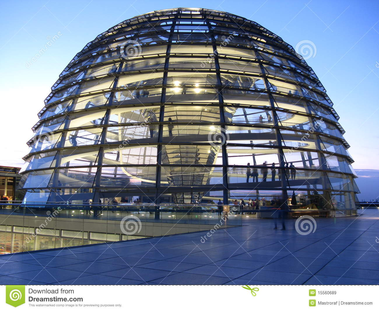 The glass dome on the top of the reichstag in berlin
