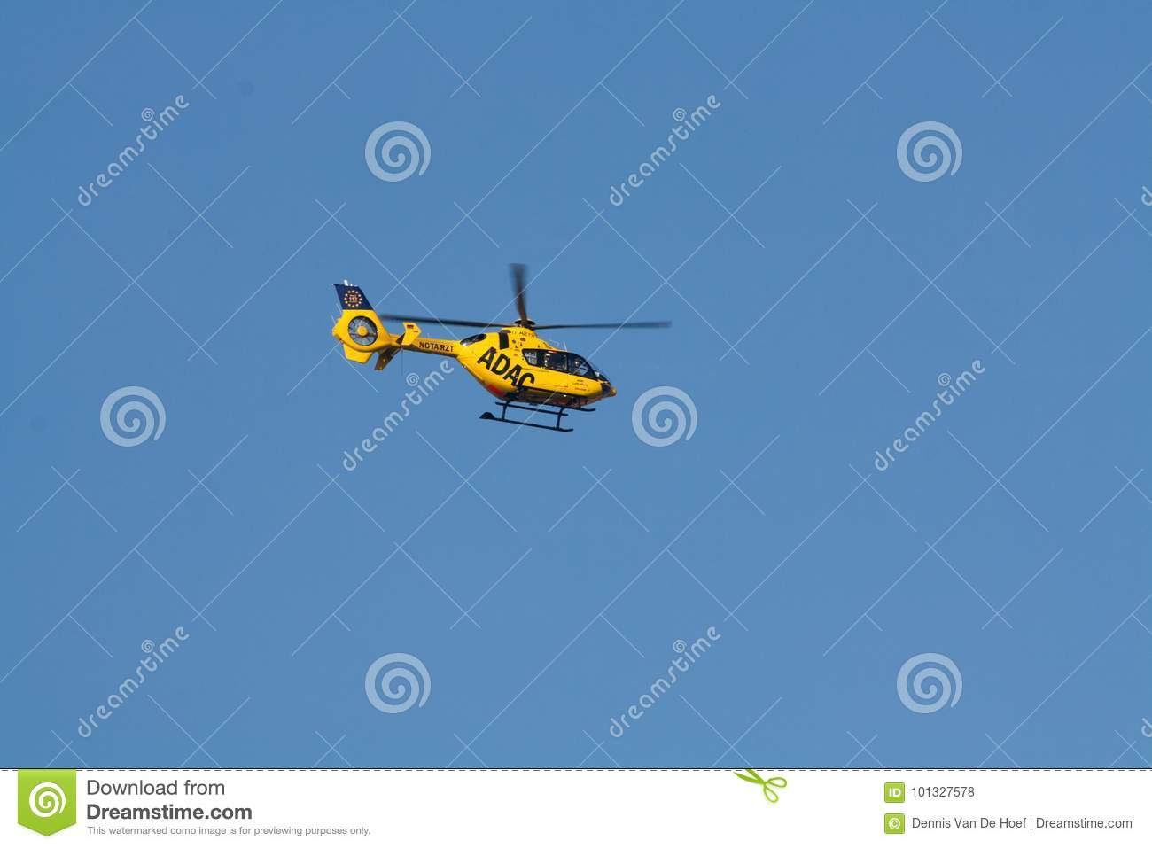 Berlin - 30.09.2017: Rescue helicopter of ADAC, Christoph 31 sea. Flight, outdoors.