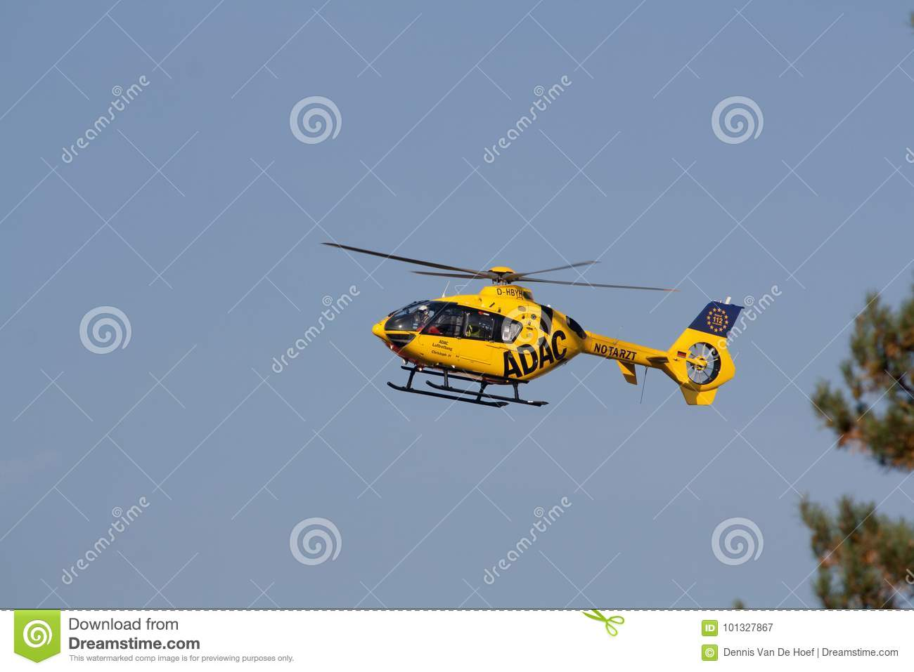 Berlin - 30.09.2017: Rescue helicopter of ADAC, Christoph 31 sea. Transportation, germany.