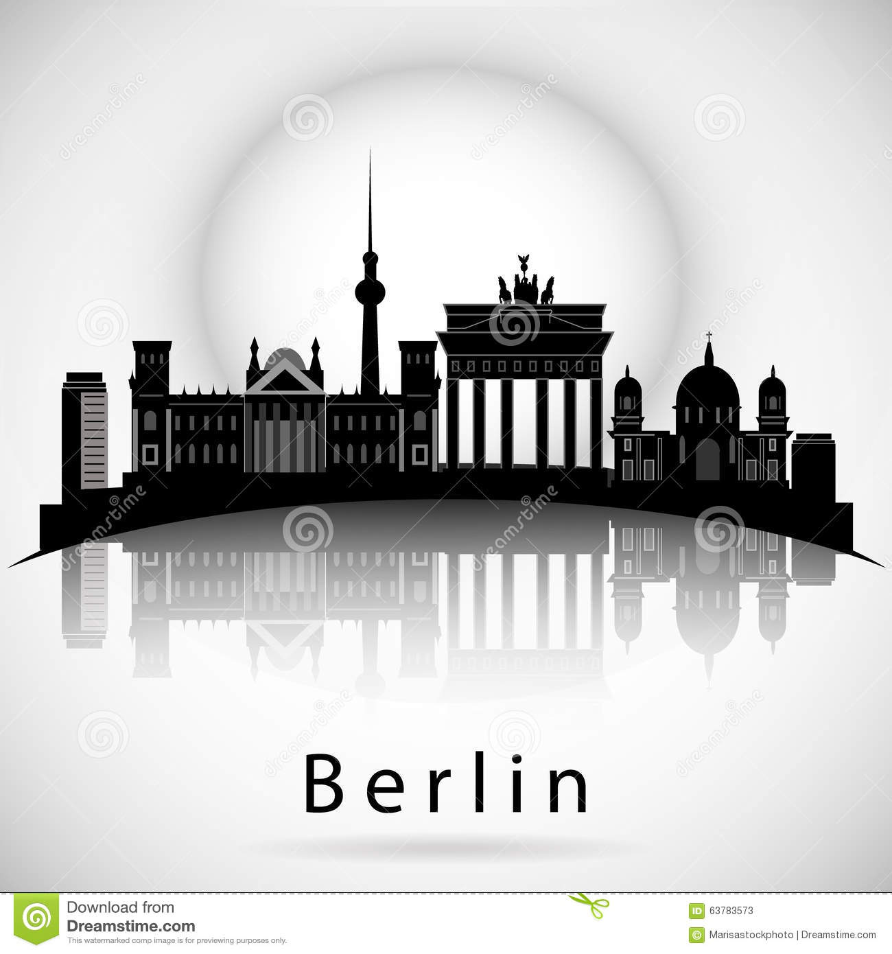 berlin skyline nachtroter himmel mit sternen vektor abbildung illustration 63783573. Black Bedroom Furniture Sets. Home Design Ideas