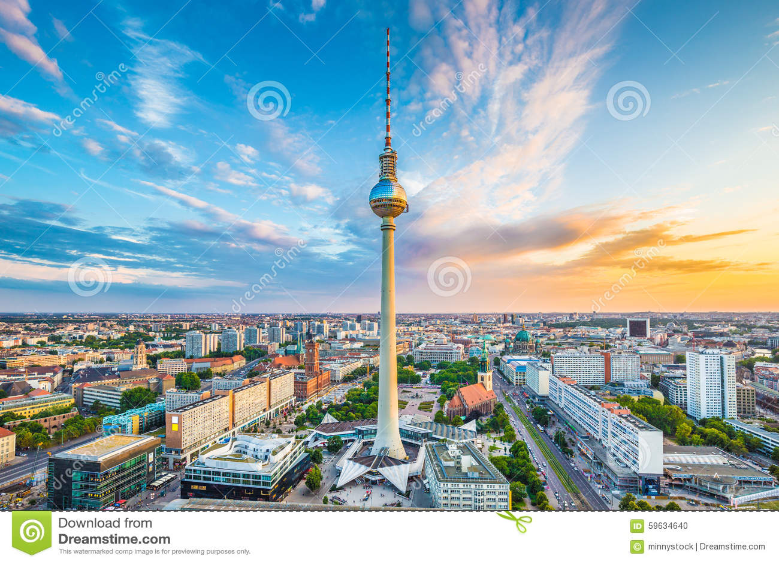 berlin skylinepanorama mit fernsehturm bei sonnenaufgang deutschland stockfoto bild 59634640. Black Bedroom Furniture Sets. Home Design Ideas
