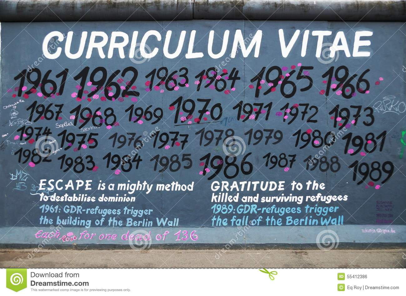 berlin wall east side gallery curriculum vitae graffiti editorial photo