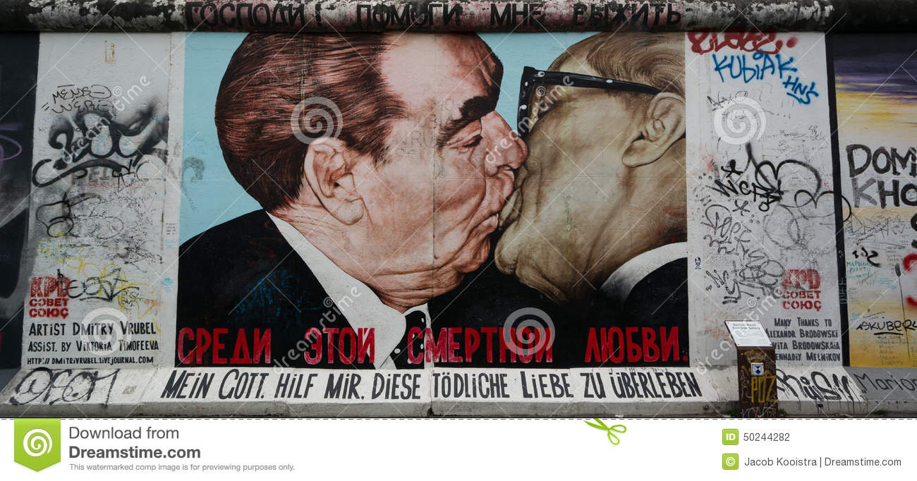 Berlin wall mural at east side gallery editorial for Berlin wall mural