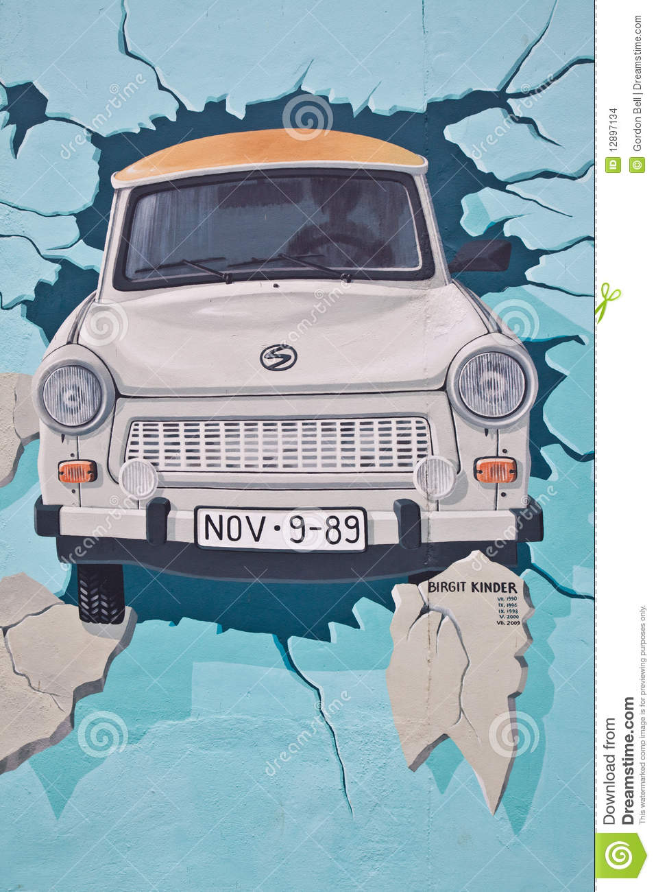 Berlin wall mural of the iconic trabant editorial stock for Berlin wall mural