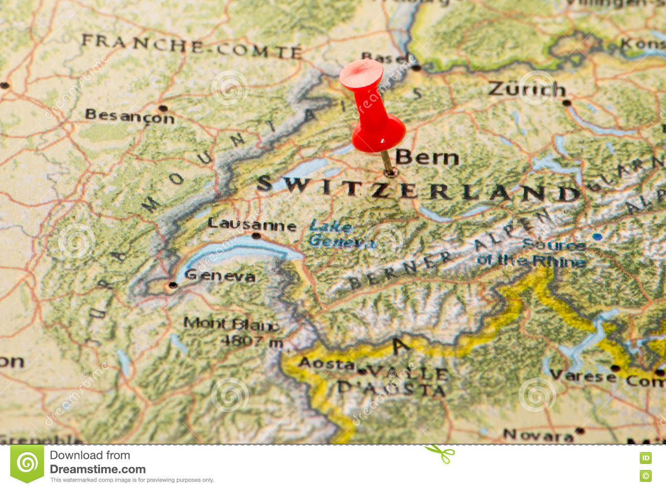 Bern, Switzerland Pinned On A Map Of Europe Stock Photo - Image of ...