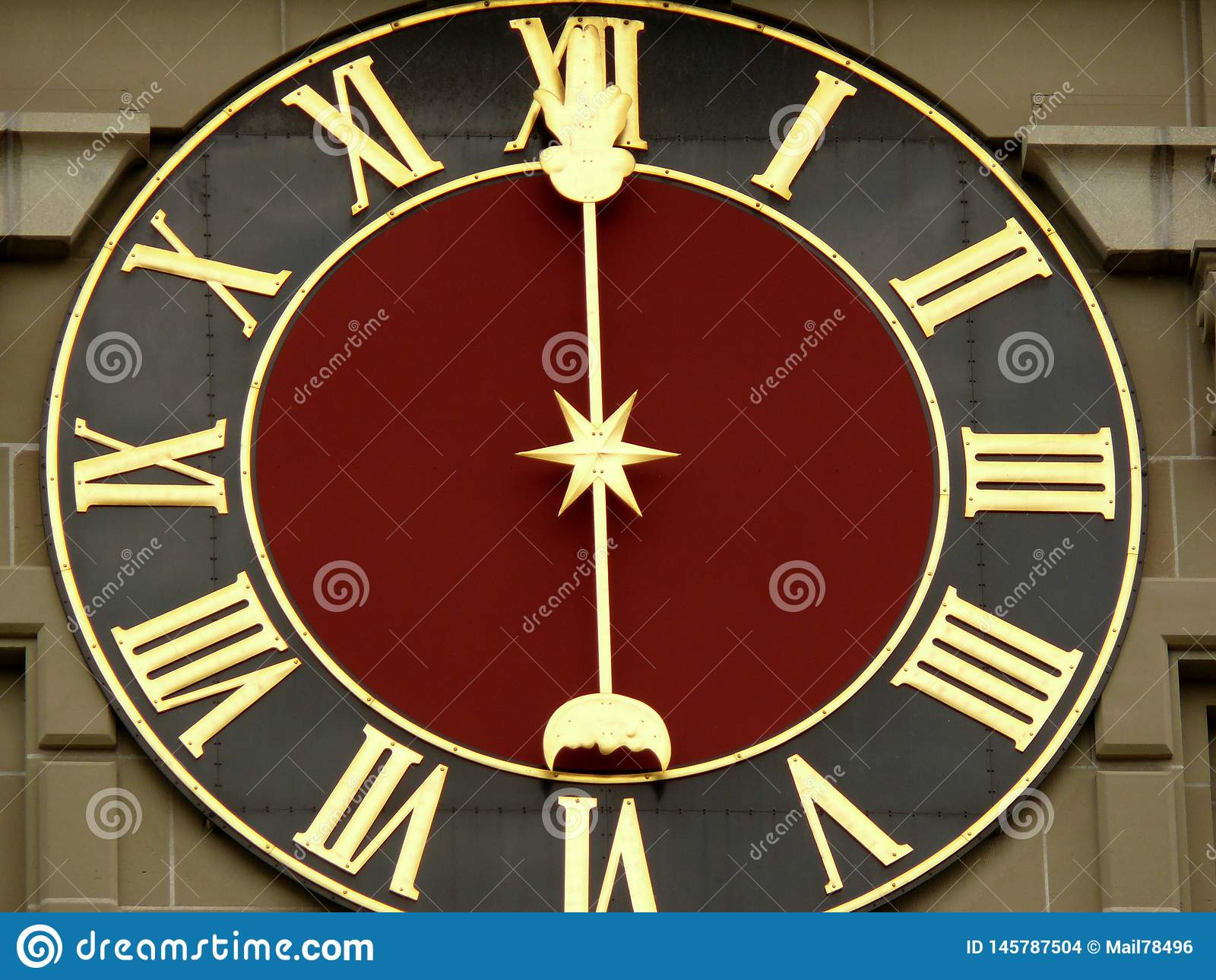 Berne, Suisse 08/02/2009 Visage d horloge de montre suisse antique