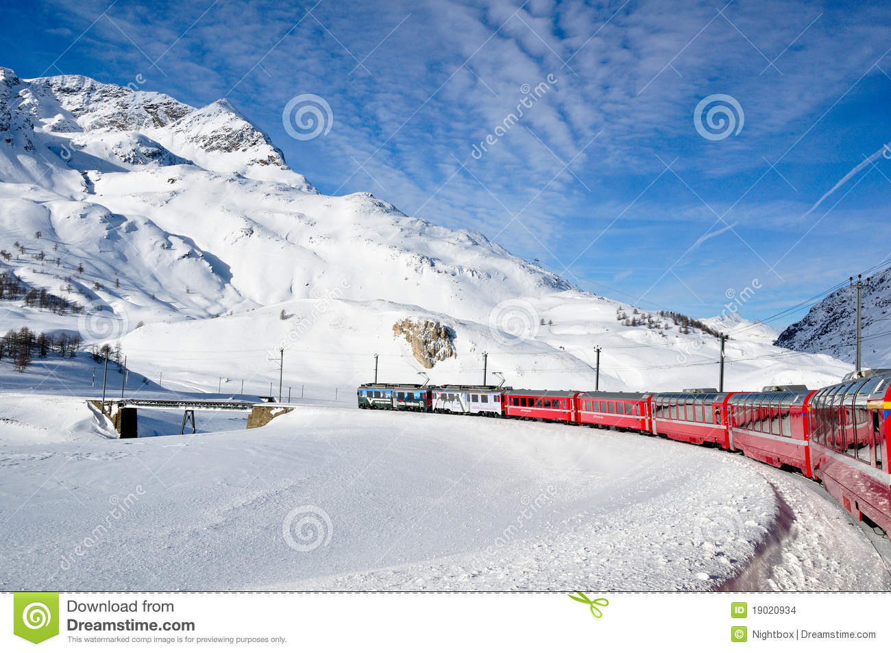 Bernina Express In Winter Time Editorial Stock Image ...