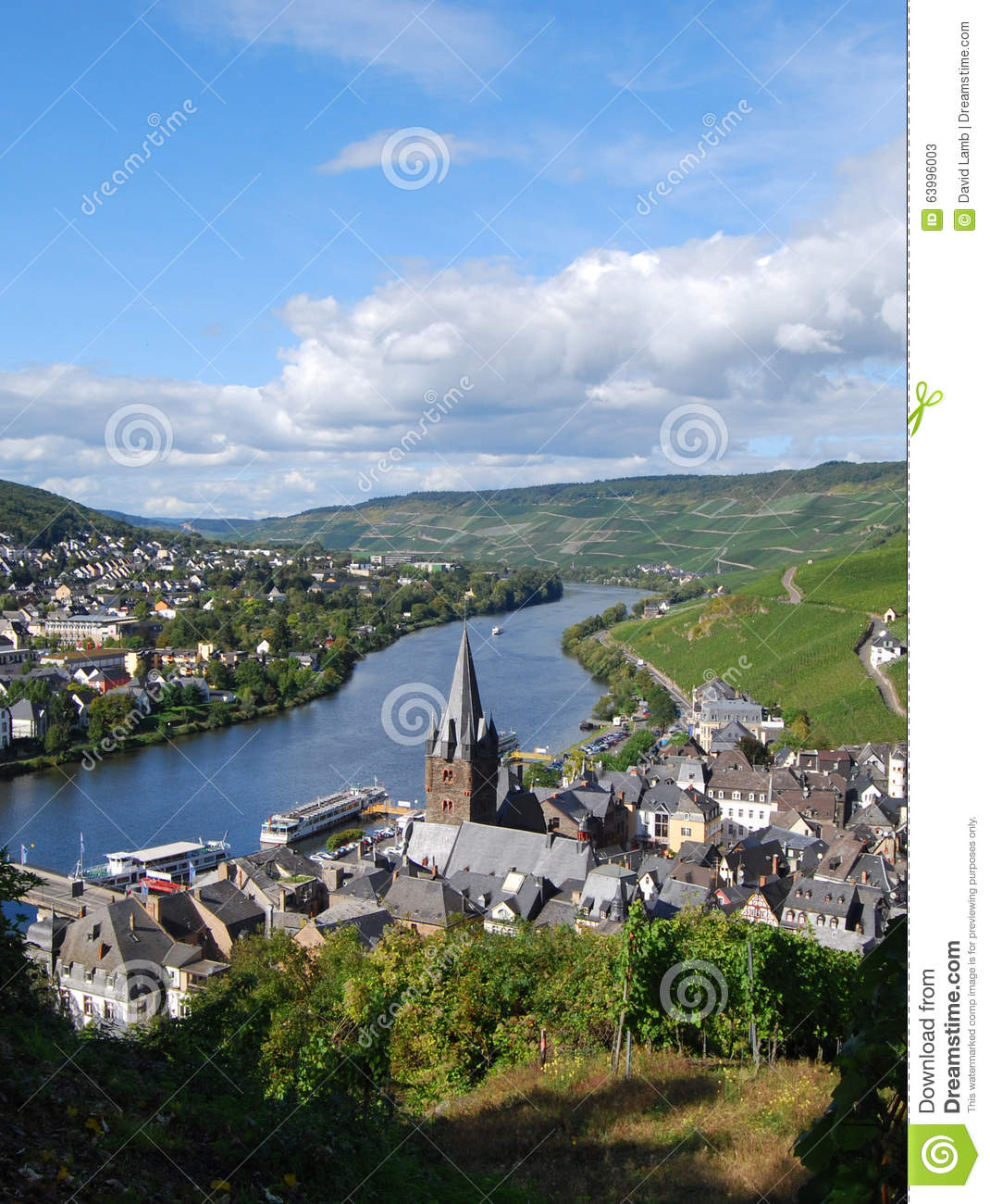 Bernkastel-Kues, Germany, view down-stream from the castle