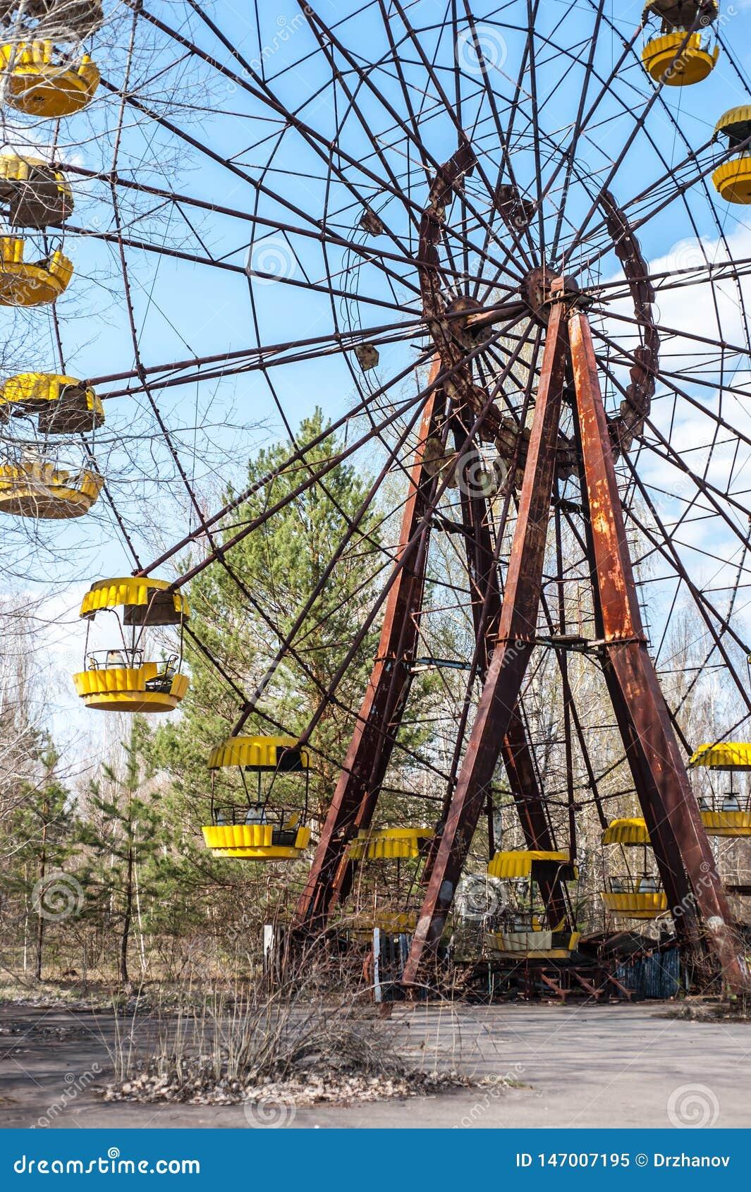 Beroemd roestig ferriswiel in verlaten pretpark in Pripyat, Tchernobyl