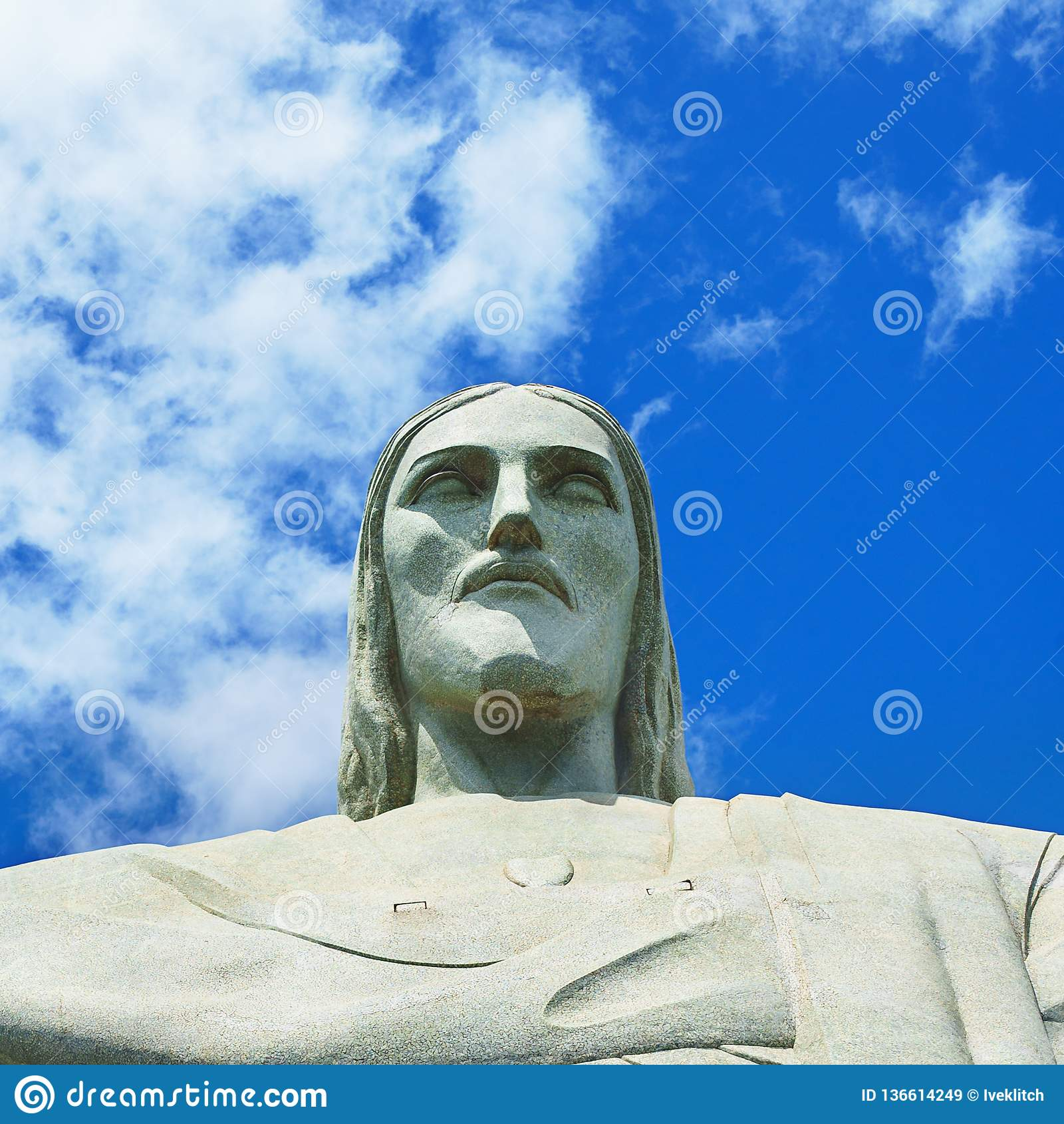 Beroemde Christus de Verlosser in Rio de Janeiro, Brazilië Gezicht van Christus de Verlosser
