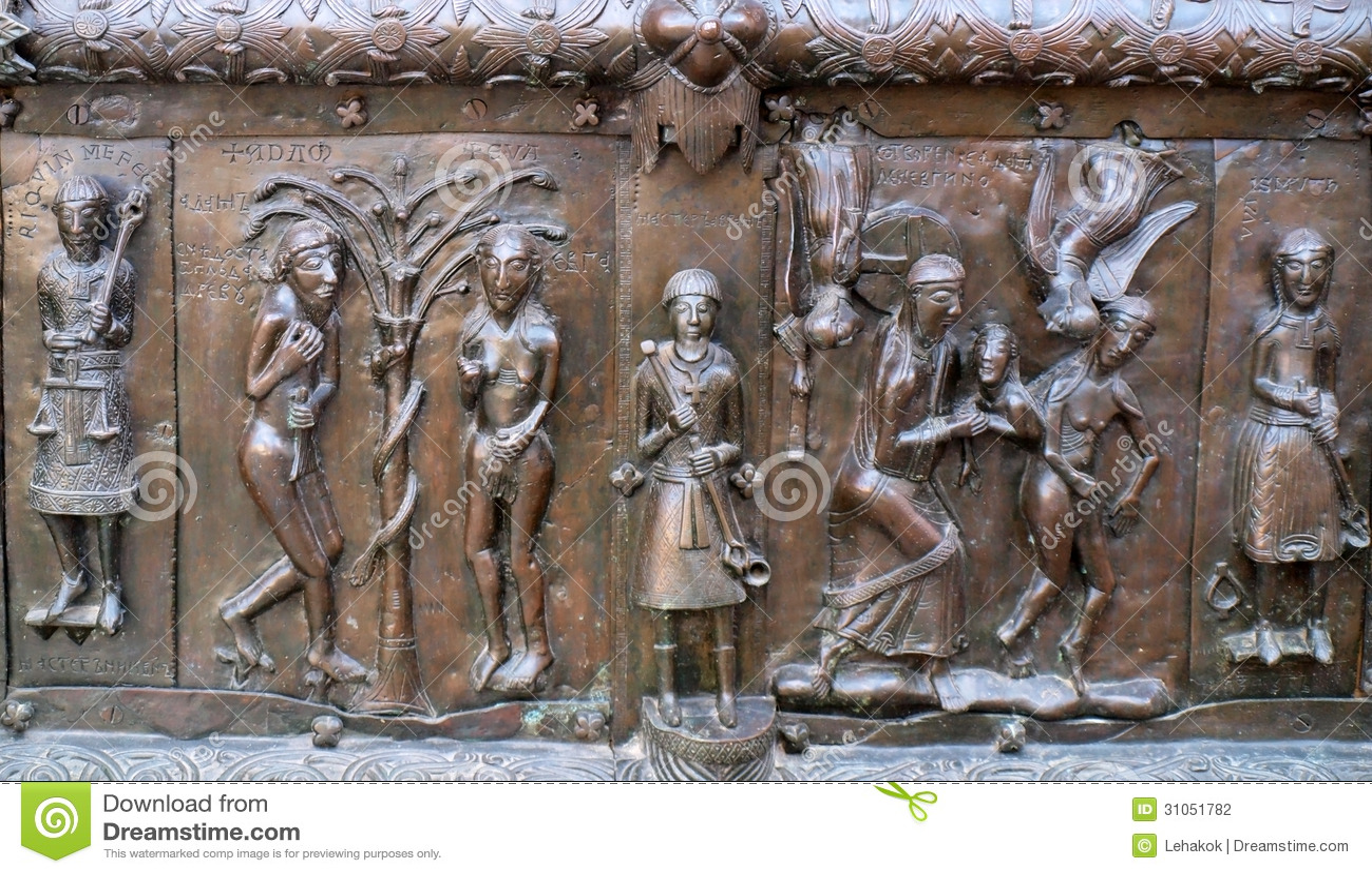 Beroemde de ingangspoorten van het bronswesten van st sophia cathedral in veliky novgorod stock - Decoratie gang ingang ...