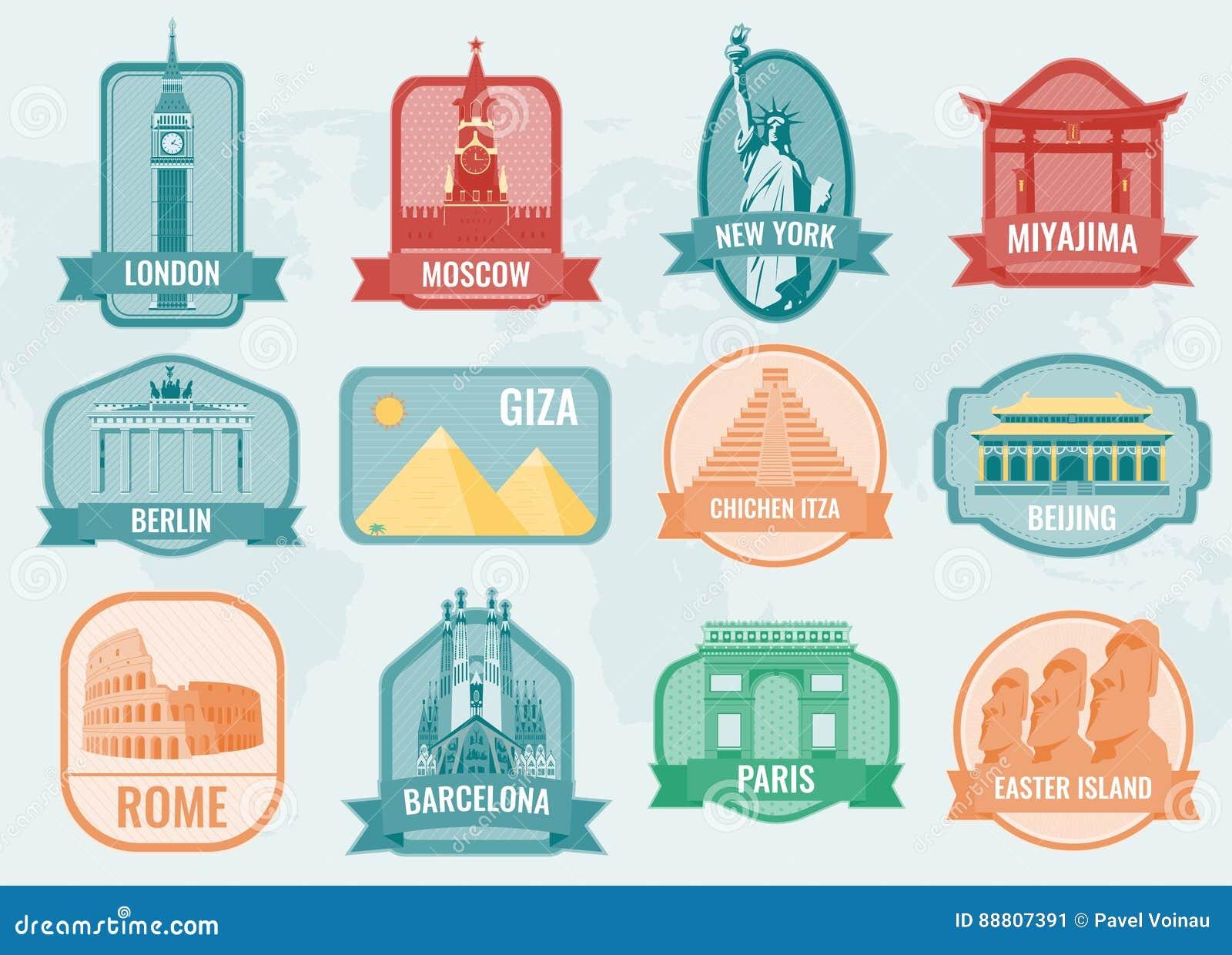 Beroemde monumenten en oriëntatiepunteninzamelingsetiketten Het concept van de reis en van het toerisme Vector