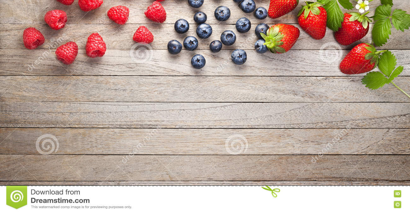Berries Banner Wood Background