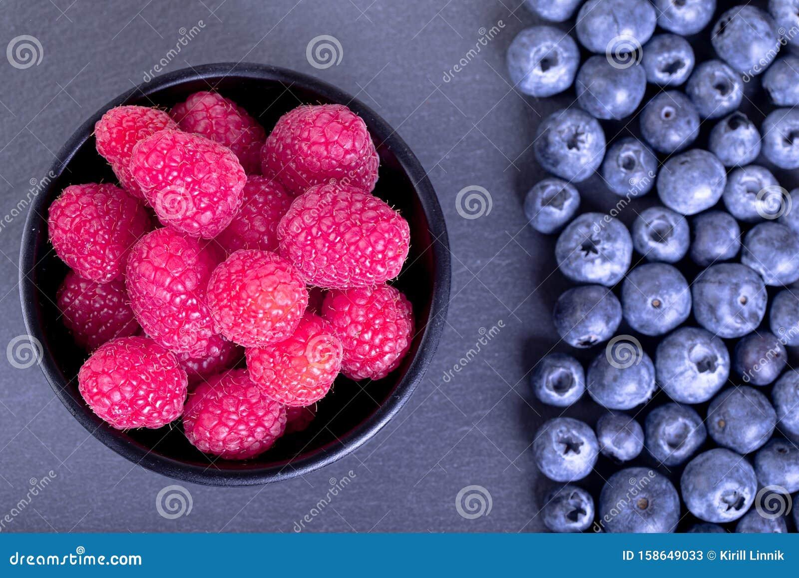 Berries on black plate