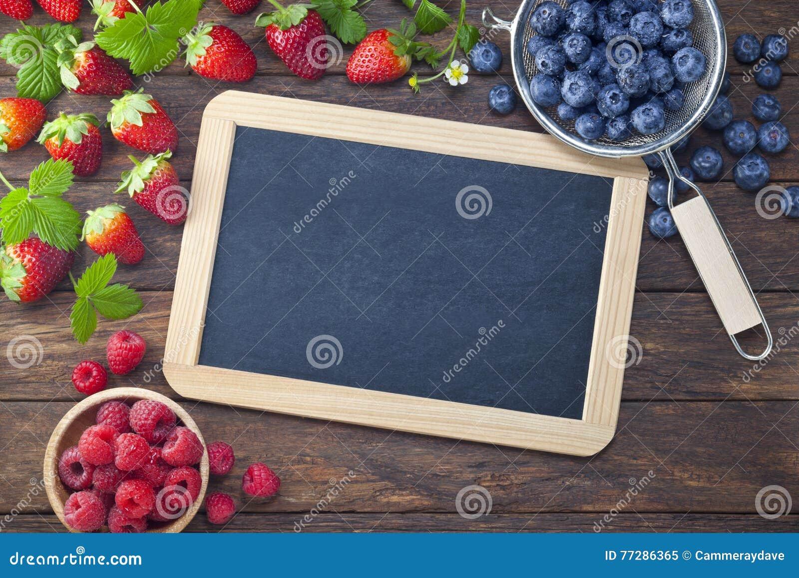 Berries Blackboard Chalkboard Sign Background