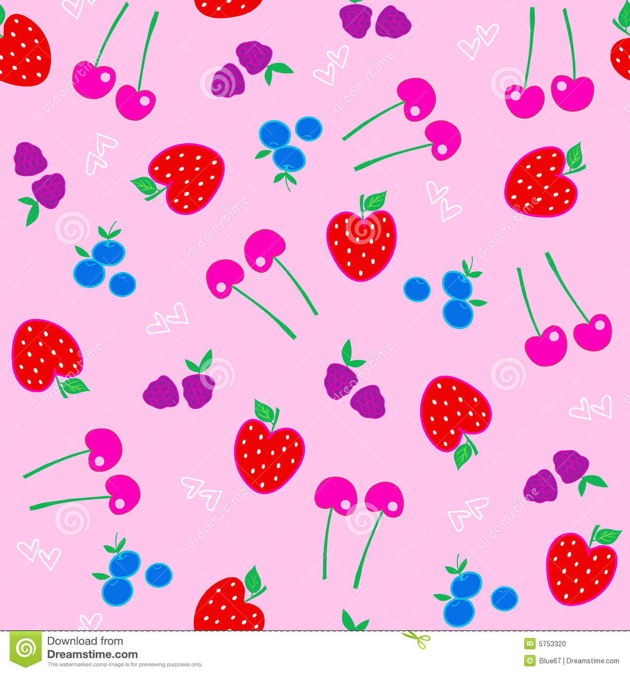Berries Fruit Seamless Repeat Pattern Vector