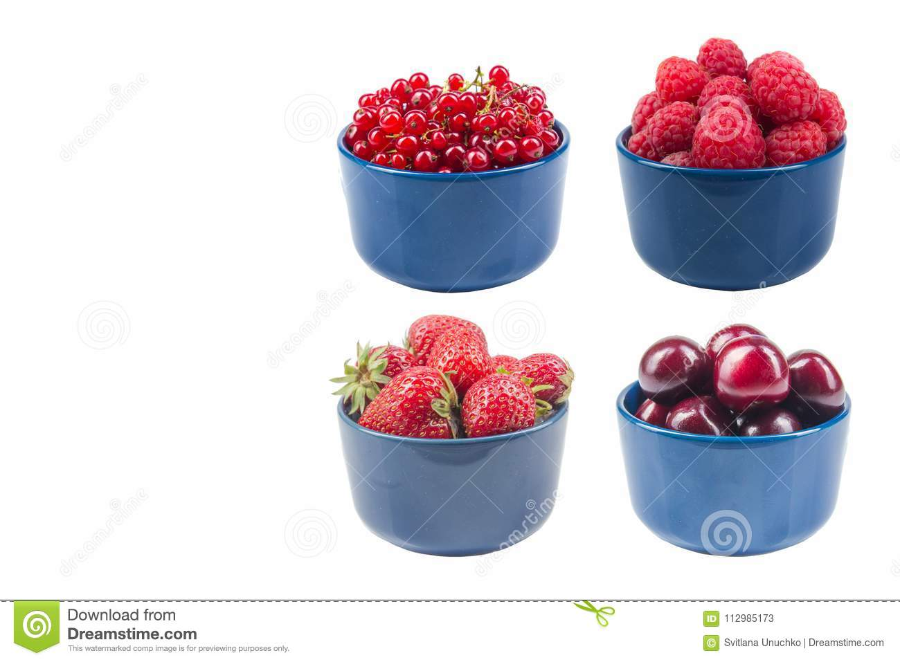 Berries on Isolated white background, bowl of Cherry, currant, raspberries, strawberries