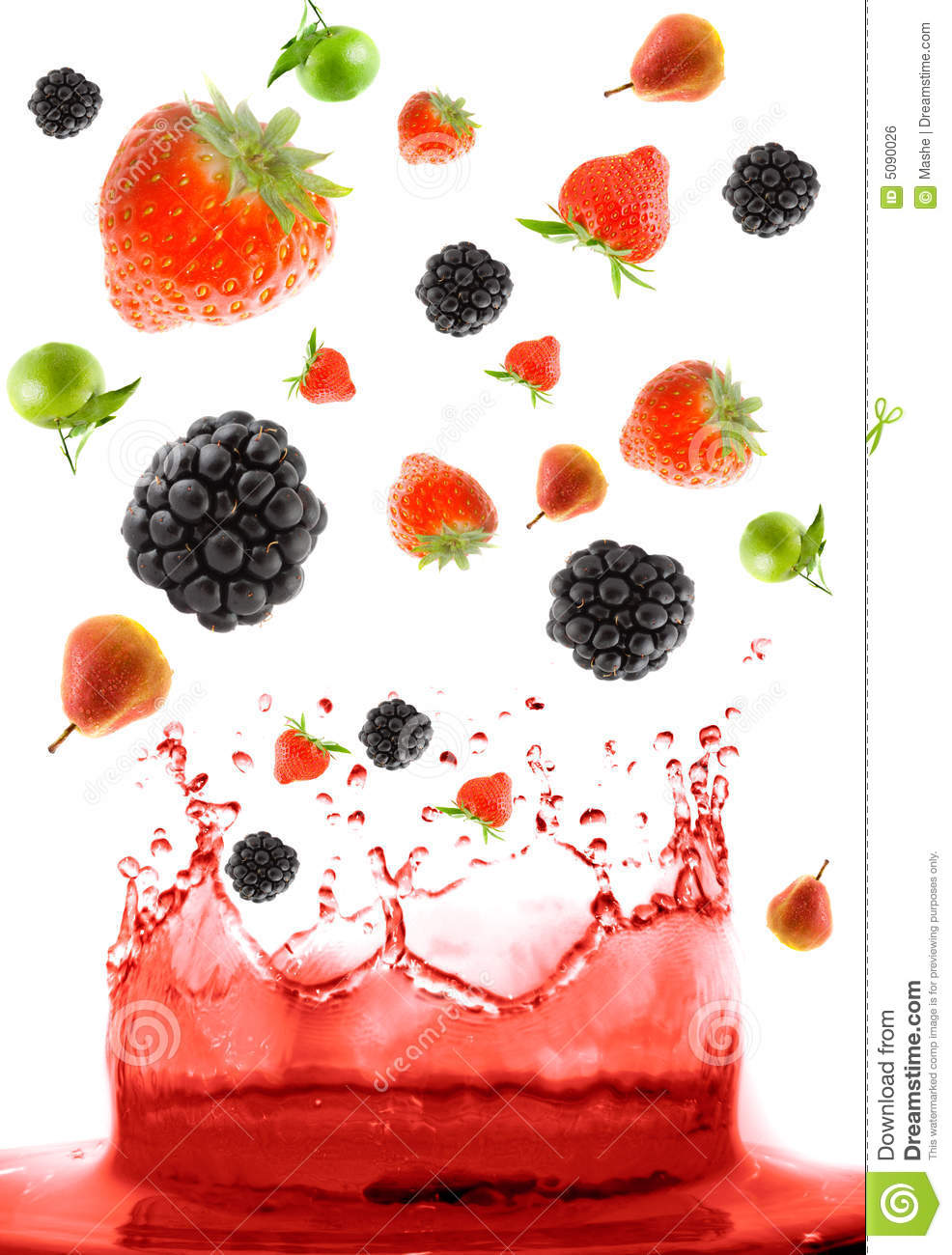 Berry falling in juice