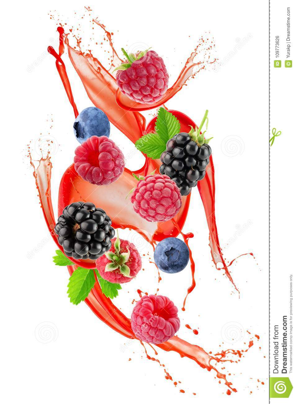 Berry Mix In Juice Splash Isolated On A White Background ...
