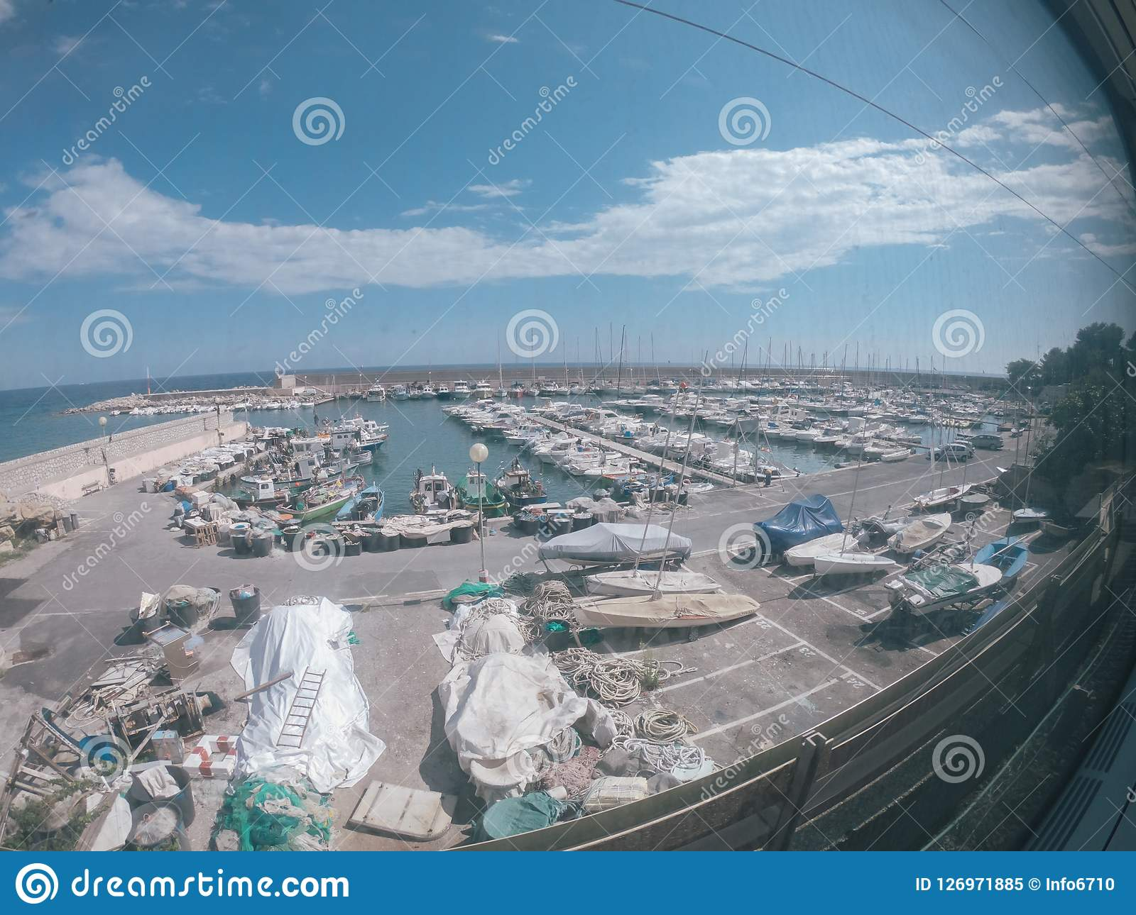 Berth with yachts in the south of France