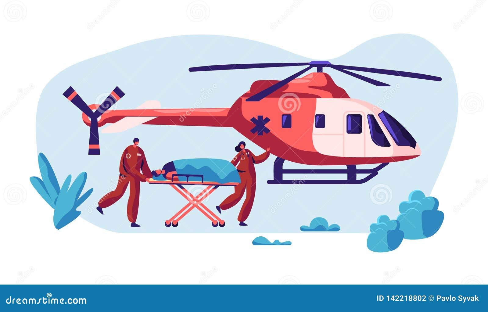 Berufsmedizin-Rettung Sanitäter Urgency Injured Character durch Hubschrauber zum Krankenhaus für Gesundheitswesen Hubschrauber-sc