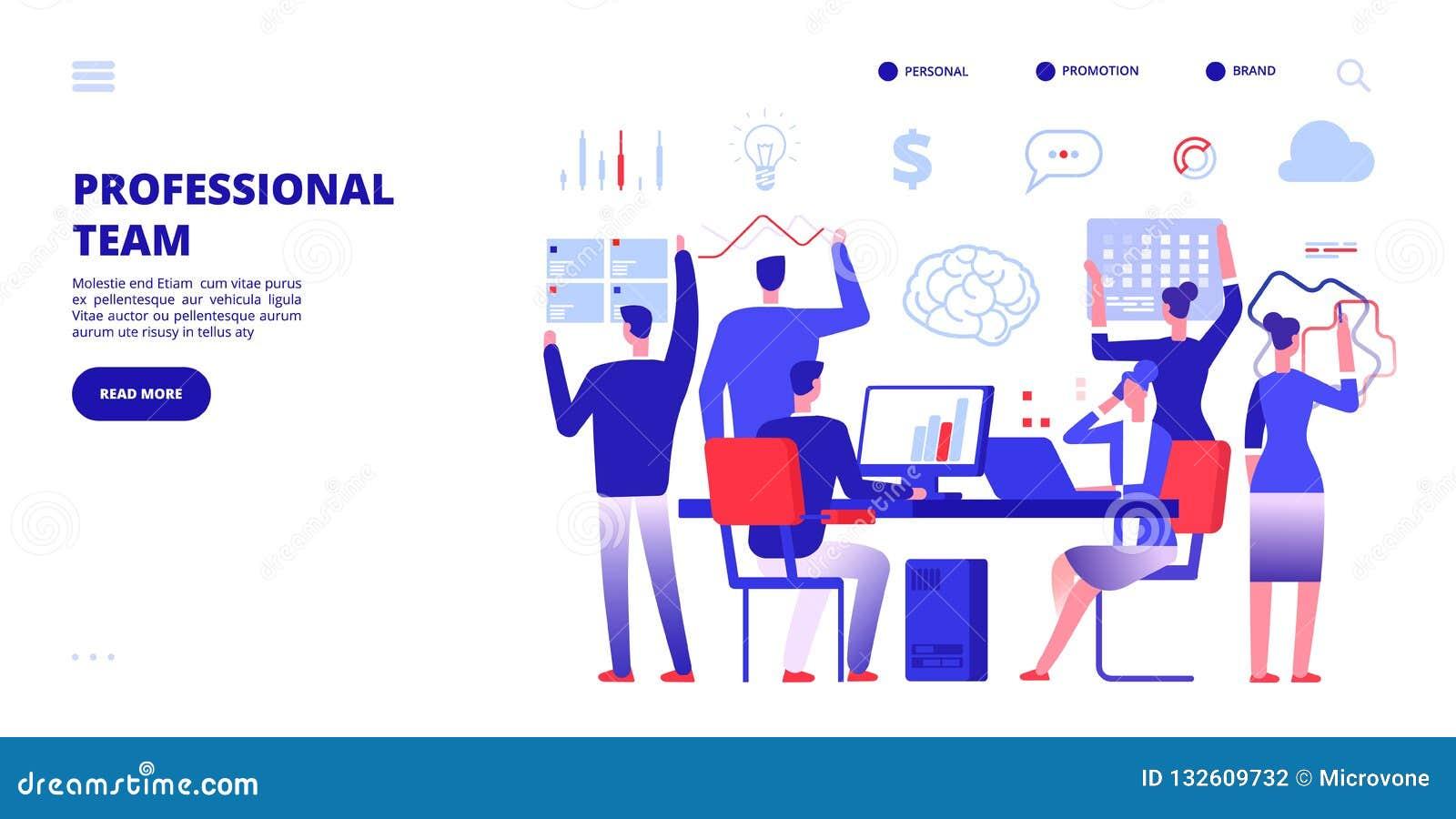 Berufteam Angestellte arbeiten im Büro Firmengeschäftsteamwork-Fahne Mehrere Dinge gleichzeitig tun der Marketing-Vektorfahne
