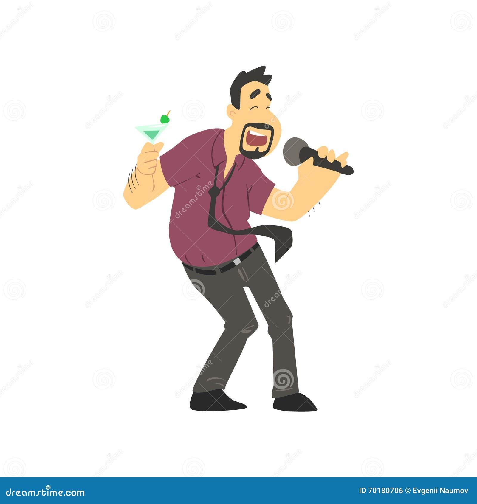 Berusad man som sjunger i karaoke