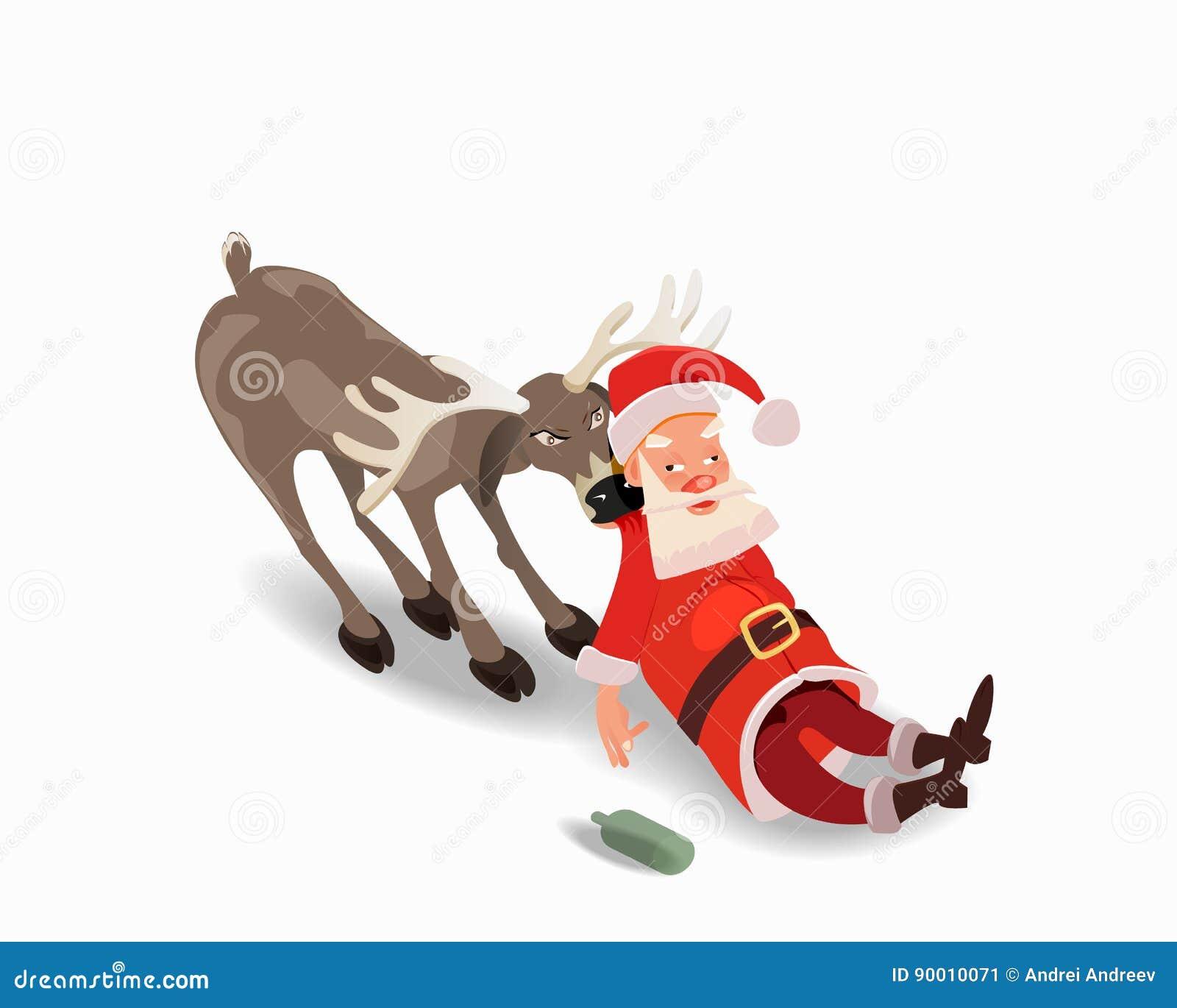 Berusade Santa Claus med en hjort Anti-alkoholadvertizing
