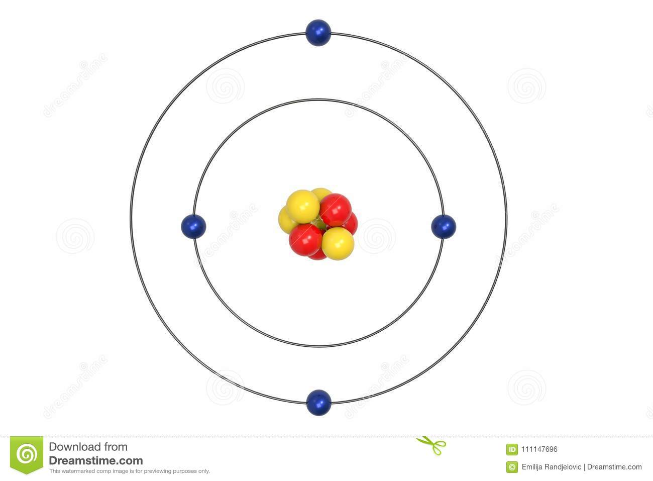 Beryllium atom bohr model with proton neutron and electron stock download comp ccuart Image collections