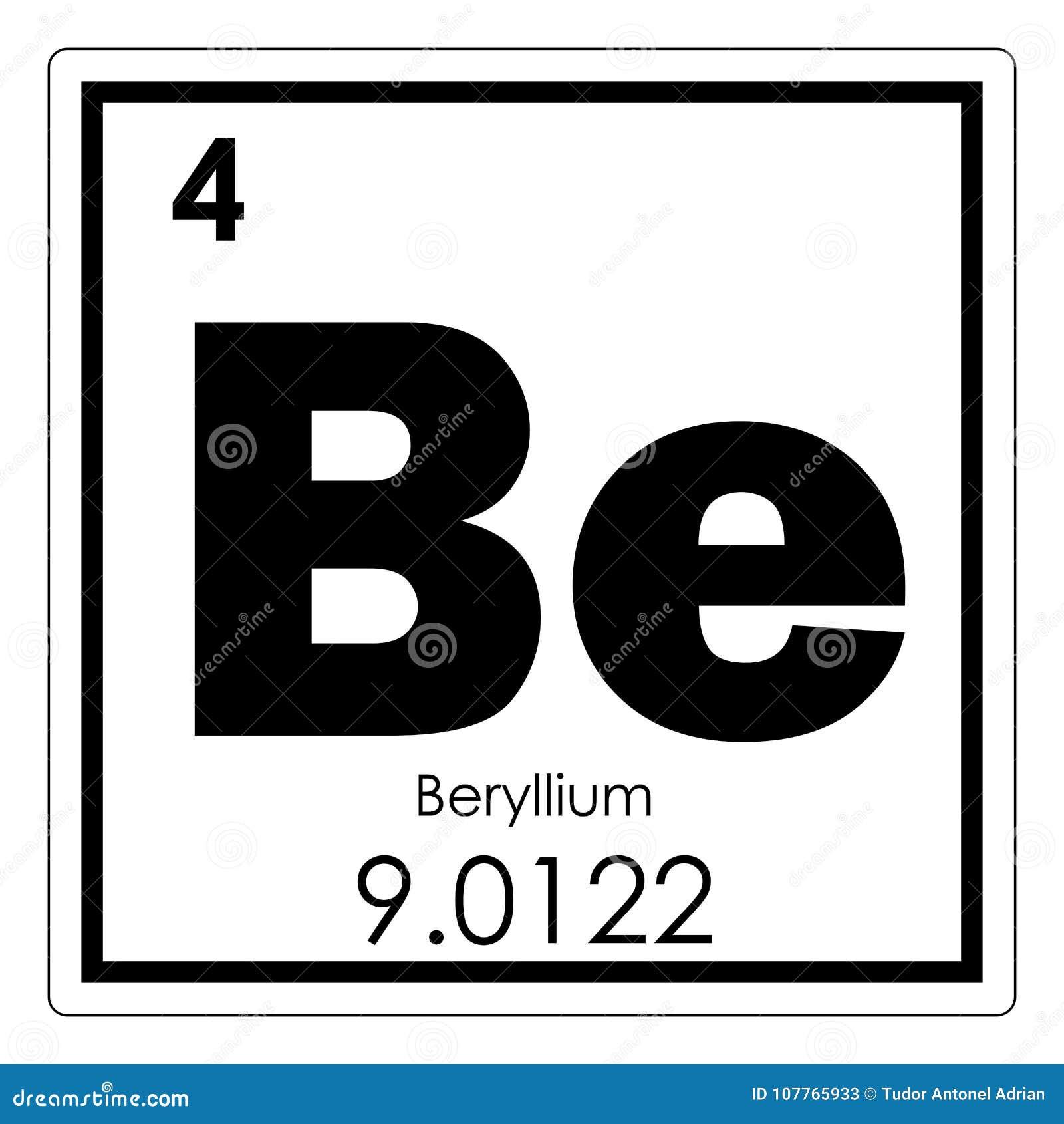 Beryllium Chemical Element Stock Illustration Illustration Of