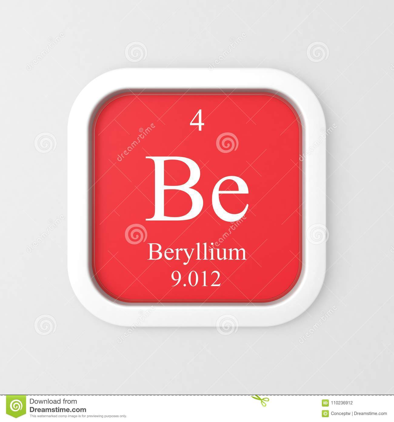Beryllium Symbol On Red Rounded Square Stock Illustration