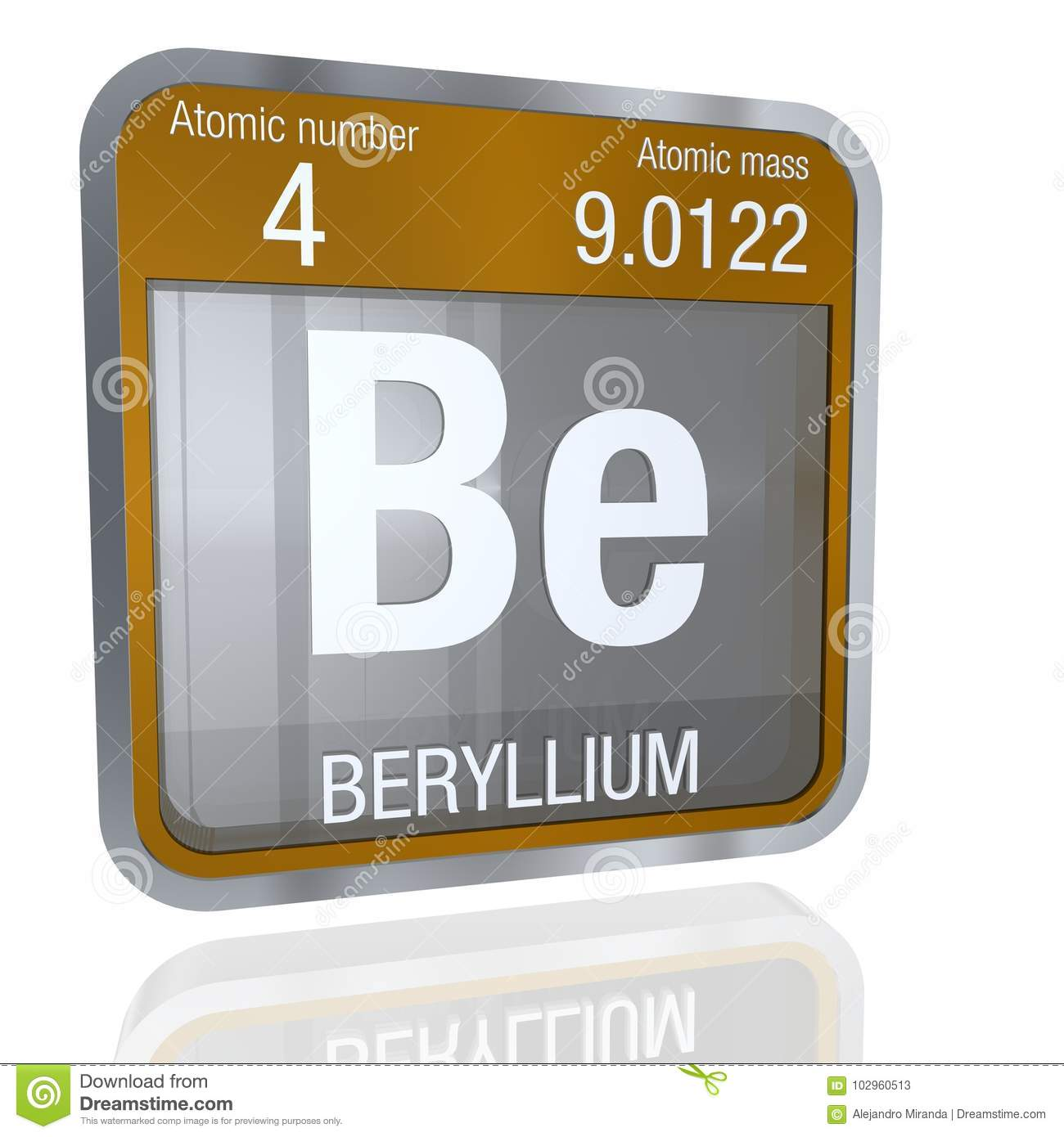 Beryllium symbol in square shape with metallic border and beryllium symbol in square shape with metallic border and transparent background with reflection on the floor 3d render buycottarizona Image collections