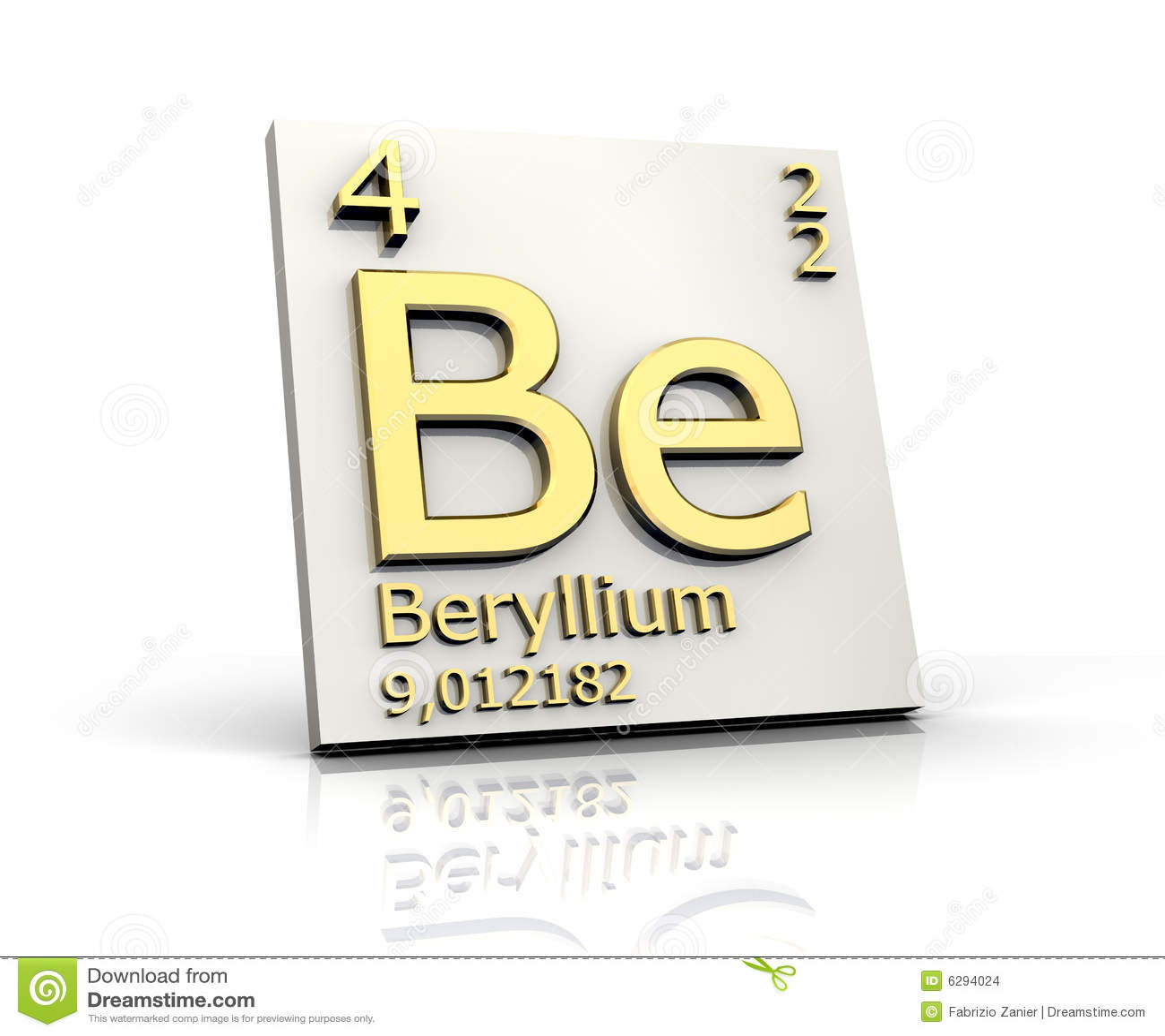 Beryllium Von Der Periodischen Tabelle Der Elemente Stock Abbildung