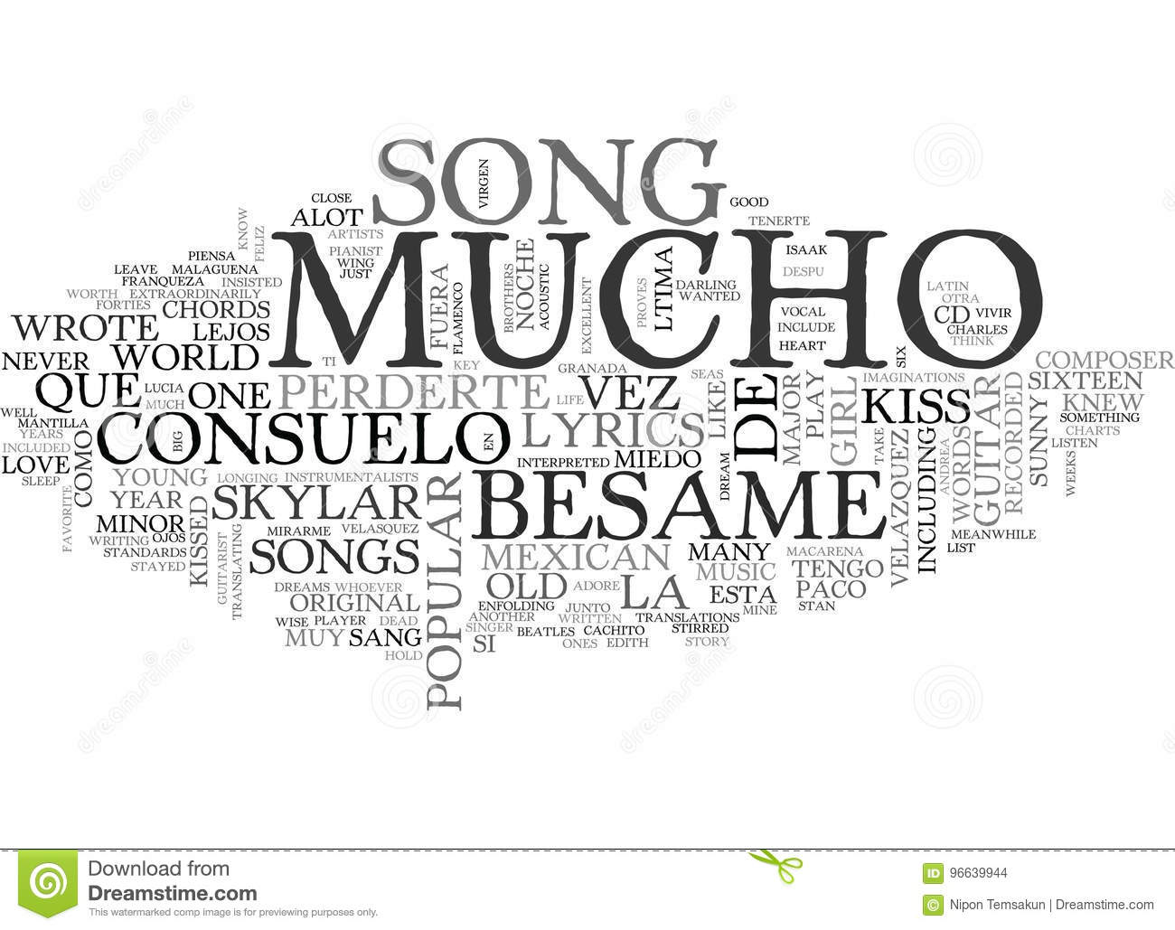 Besame Mucho Guitar Chords And Lyrics Word Cloud Stock Illustration
