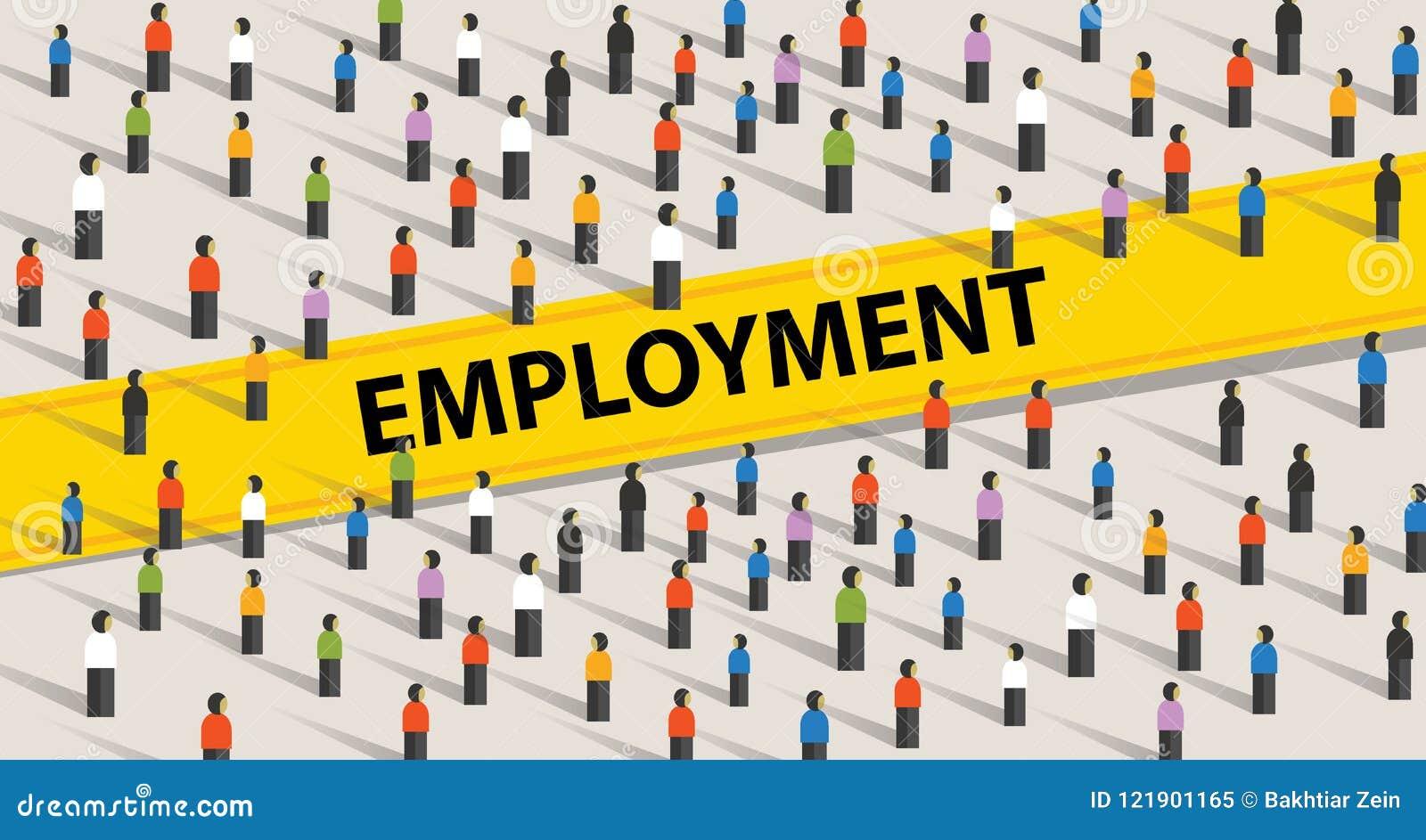 Beschäftigungskonzept Menge von Leuten, von Individualität und von Verschiedenartigkeitskonzept