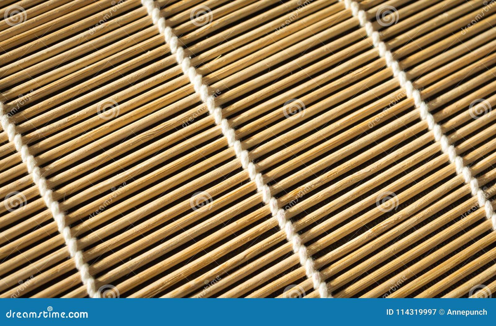 Beschaffenheit Der Bambusmatte Fur Sushi Nahaufnahme Rechteckiger