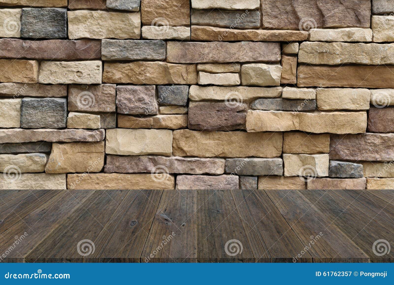 Beschaffenheit Der Hölzernen Terrasse Und Der Steinwand Stockbild