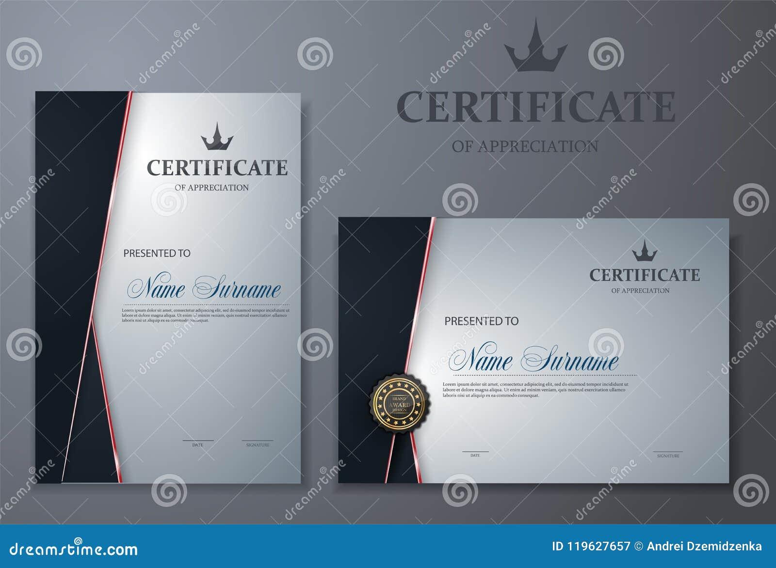 Bescheinigen Sie Schablone mit Luxus- und modernem Muster, Diplom, Vektorillustration